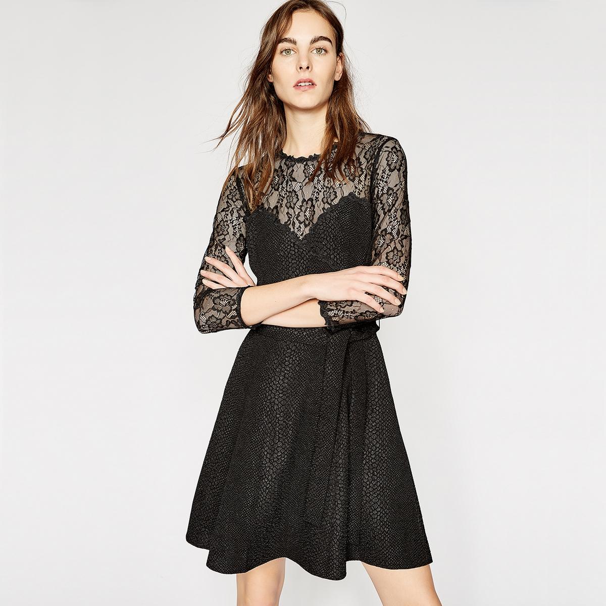 Платье LaRedoute С длинными рукавами из рифленой ткани и кружева XL черный