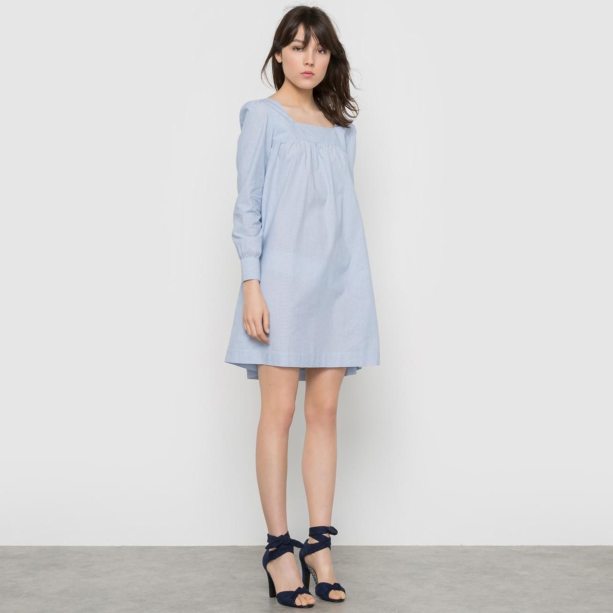Платье в полоскуСостав и описаниеМарка : Mademoiselle R.Материал: 100% хлопка. УходМашинная стирка при 30°.Сушка в машине при умеренной температуре.Гладить на средней температуре.<br><br>Цвет: в полоску белый/синий<br>Размер: 38 (FR) - 44 (RUS)