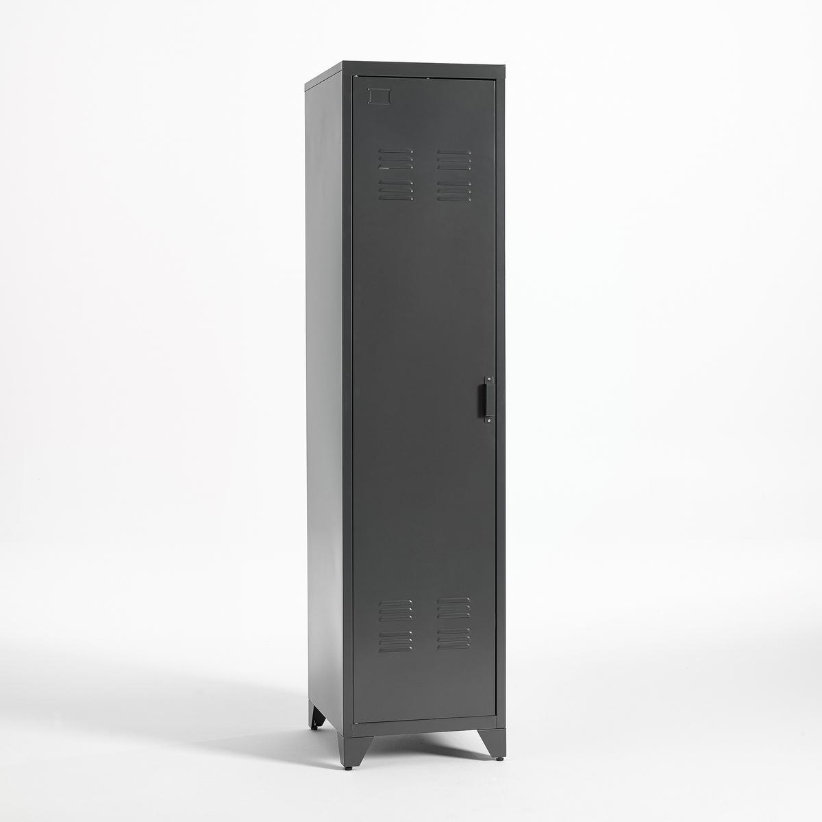 Шкаф LaRedoute Для одежды металлический в американском стиле Hiba единый размер серый