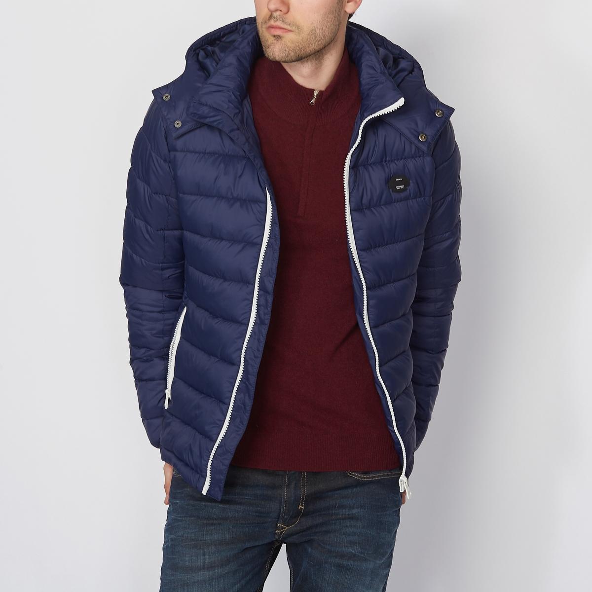 Стеганая куртка с капюшономСостав и описаниеМатериал: 100% полиамидаМарка:  KAPORAL<br><br>Цвет: темно-синий,черный