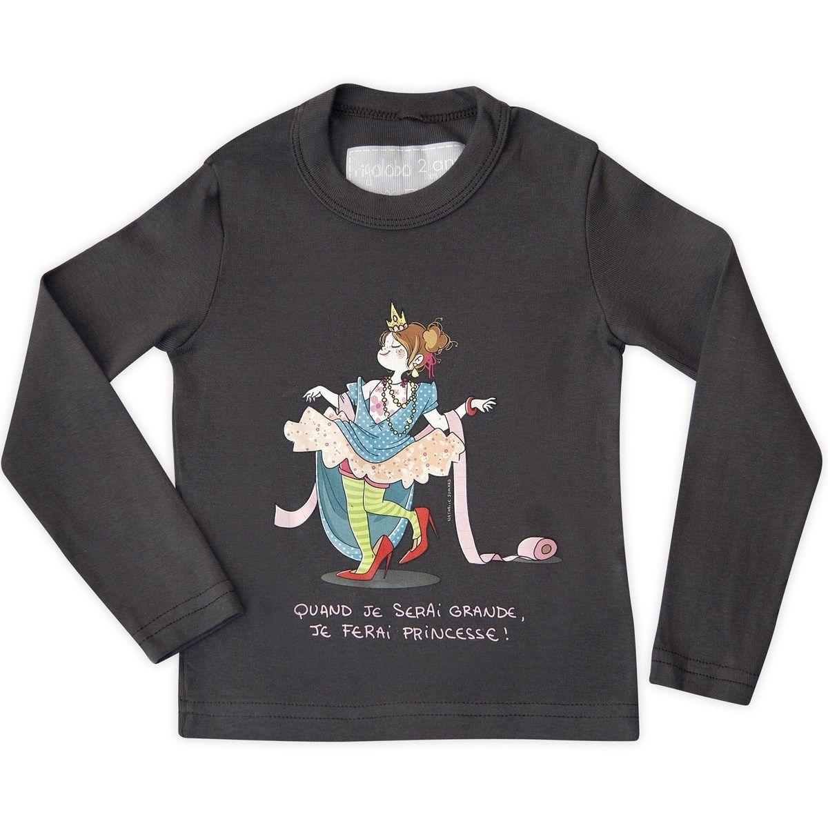 T-shirt fille gris foncé en coton manches longues Princesse