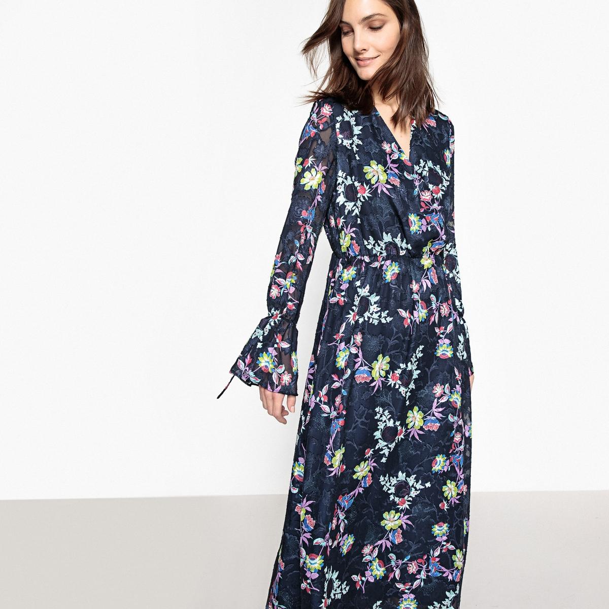 Платье длинное с цветочным принтом, c длинными рукавами платье длинное из трикотажа с цветочным принтом короткие рукава