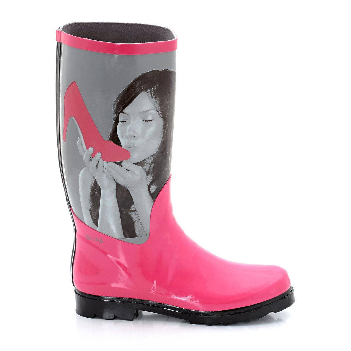Сапоги резиновые с рисункомЛучший способ оставаться гламурной и модной в дождливую, ветреную или снежную погоду - это выходить на улицу в великолепных сапогах от Be Only!<br><br>Цвет: серый/ розовый<br>Размер: 36