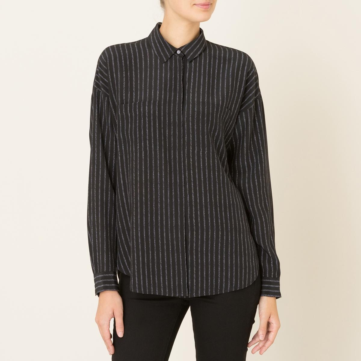 Рубашка женская из шелкаСостав &amp; ДеталиМатериал : 100% шелкМарка : THE KOOPLES<br><br>Цвет: черный<br>Размер: L