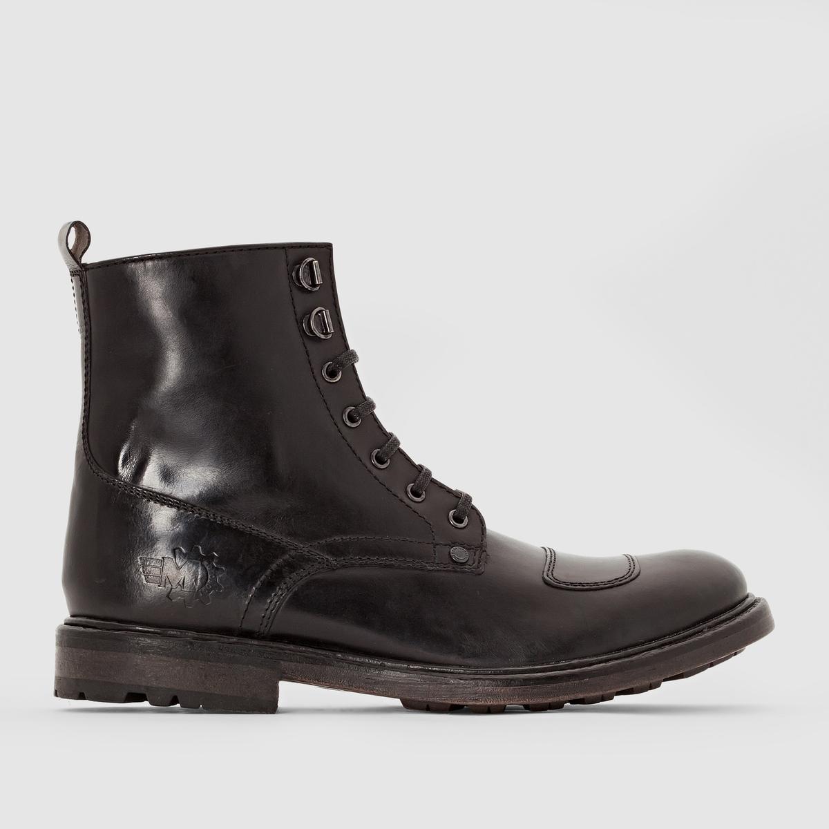 Ботильоны из кожи BASE LONDON MERCURYПреимущества : Ботильоны BASE LONDON в стиле высоких ботинок на шнуровке . Рифленая подошва, усиленный подъем в байкерском стиле придает бунтарский дух образу  .<br><br>Цвет: черный