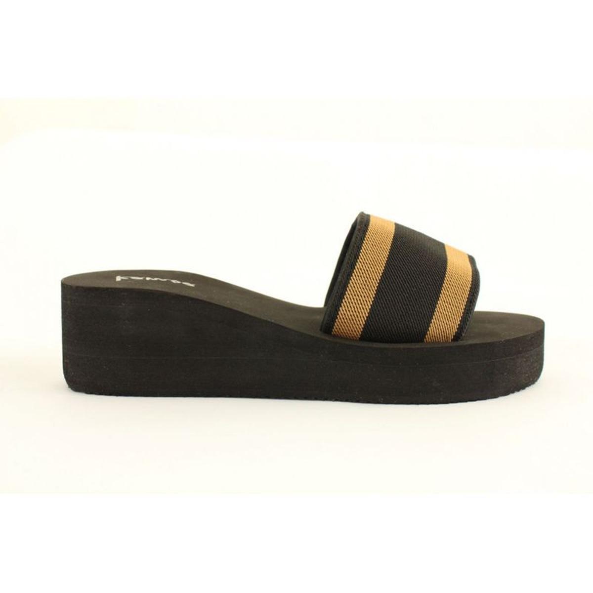 Sandales compensée Kamoa noir et beige