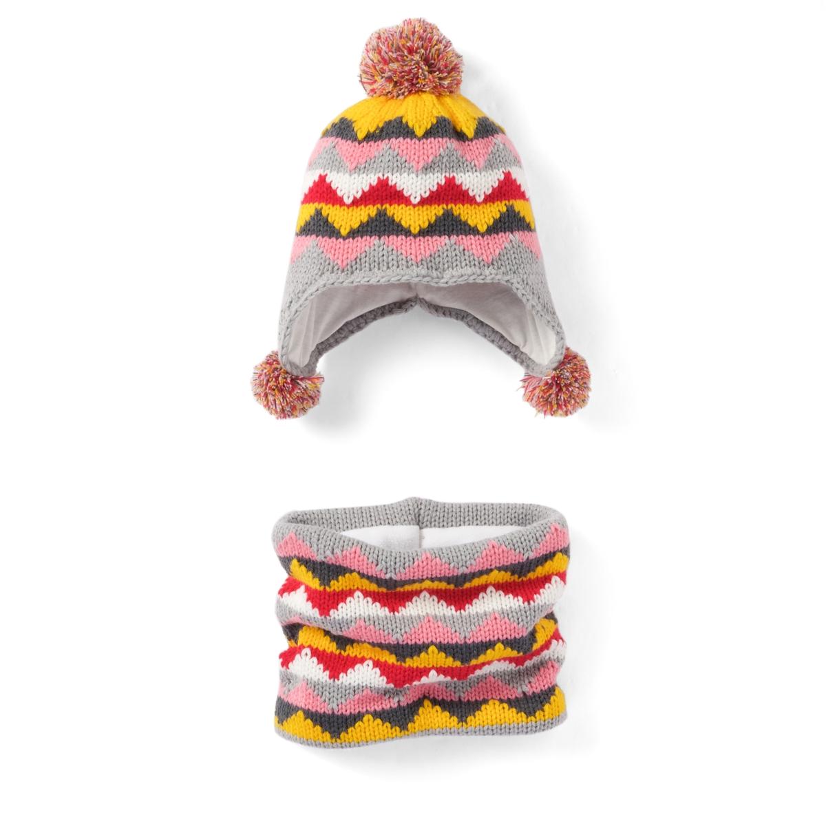 Шапка и шарф в перуанском стилеКрасивая шапочка с помпонами и шарф в ярких перуанских цветах : отличный выбор для зимы! Состав и описаниеМатериал : шапочка из акрила Шарф из акрила на подкладке из полиэстера Размеры 17 см. Уход : Просьба следовать советам по уходу, указанным на этикетке.<br><br>Цвет: жакард<br>Размер: 54 см.52 см.56 см