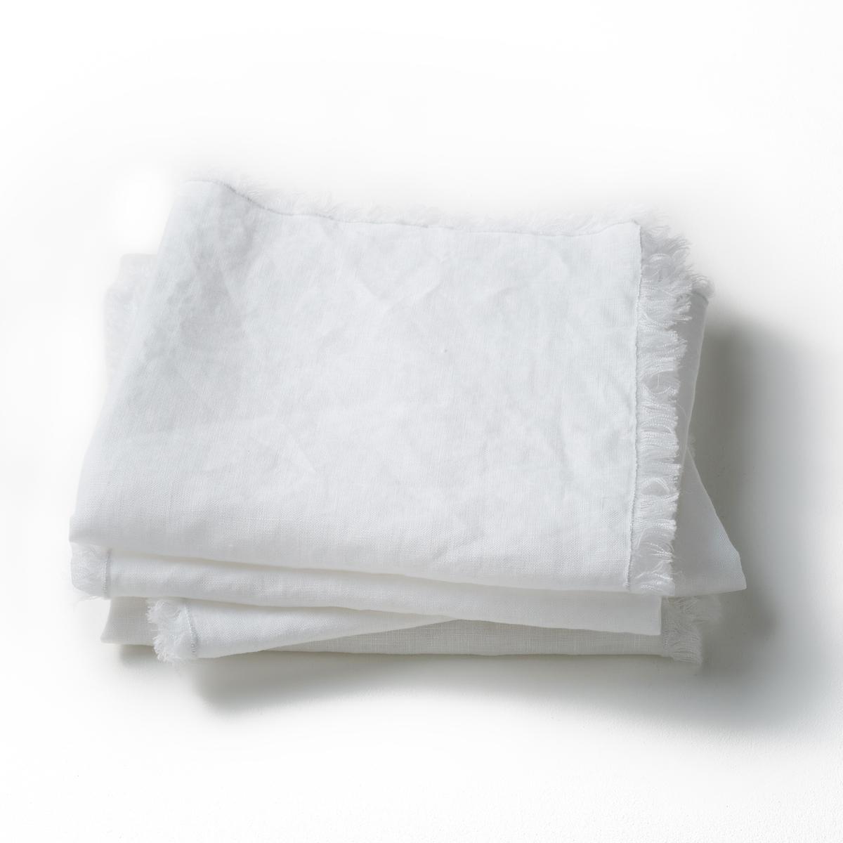 Столовых La Redoute Салфетки из стиранного льна Yastigi комплект из 4 белый комплект из полотенце для la redoute рук из хлопка и льна nipaly 50 x 100 см белый