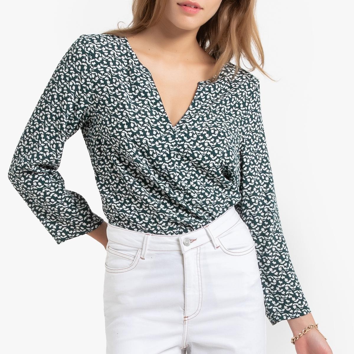 цена Блузка La Redoute С цветочным рисунком V-образным вырезом и рукавами M зеленый онлайн в 2017 году