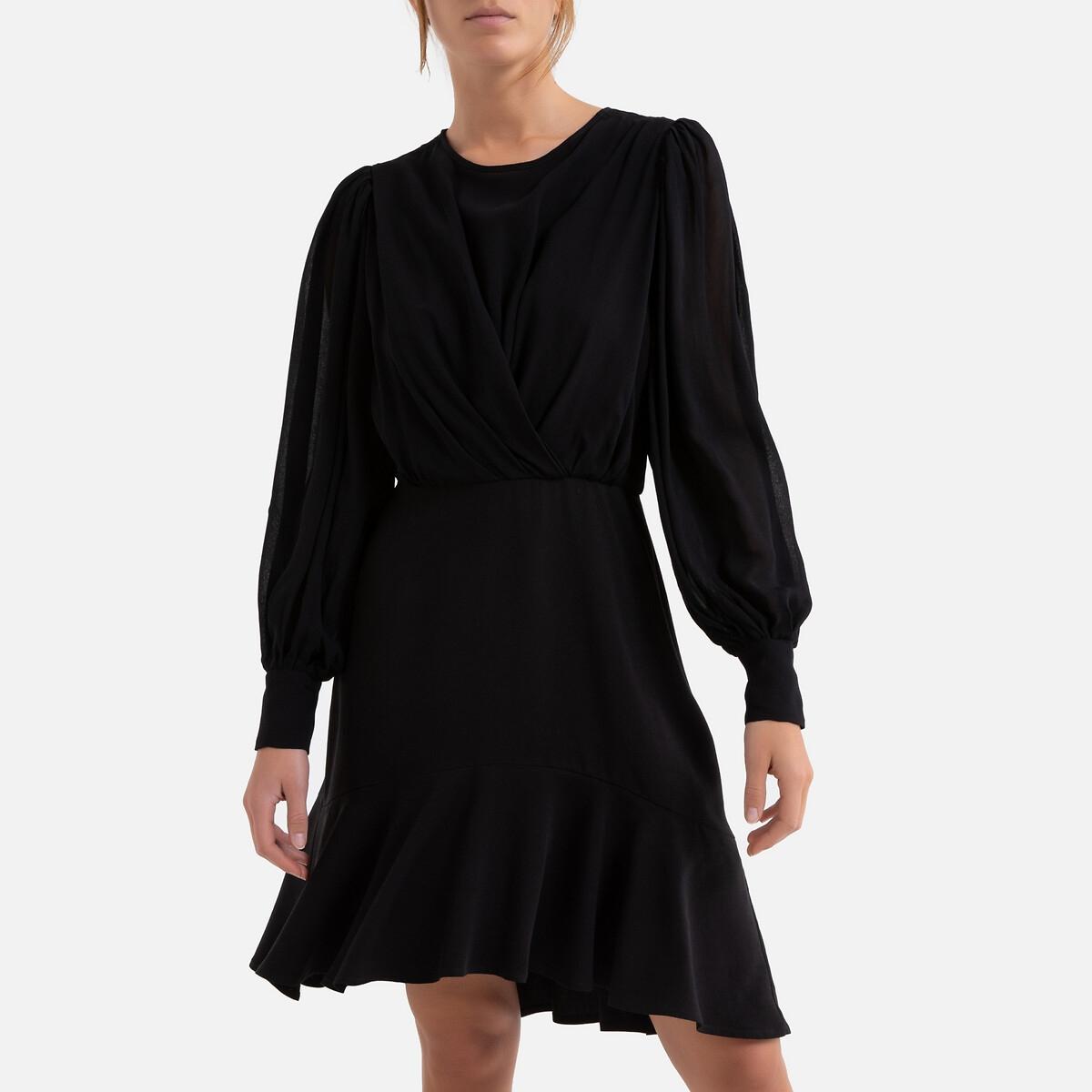 Платье La Redoute Расклешенное с длинными рукавами 3(L) черный платье la redoute короткое расклешенное с длинными рукавами l синий