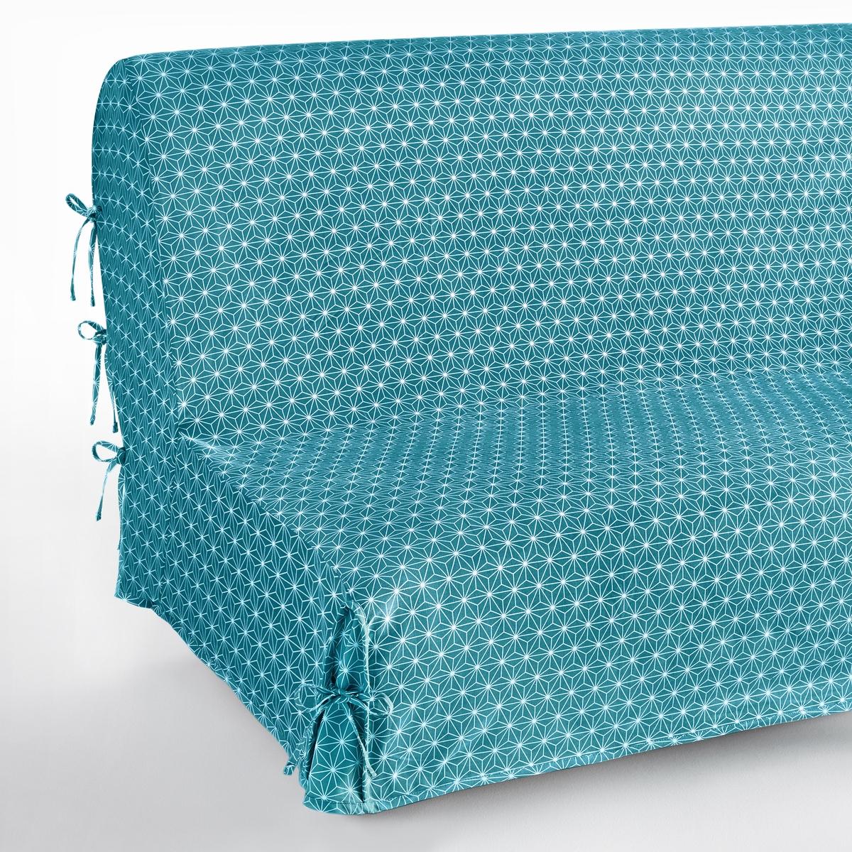 Чехол на раскладной диван, LozangeХарактеристики чехла :Материал : 100% хлопок Застежка на завязки с узелкамиУход : Машинная стирка при 40 °С. Водоотталкивающая пропитка и против пятен. Размеры чехла :190 x 65 см.Уход :Следуйте рекомендациям по уходу, указанным на этикетке изделия. Знак Oeko-Tex® гарантирует, что товары прошли проверку и были изготовлены без применения вредных для здоровья человека веществ.<br><br>Цвет: желтый/ белый,серый/ белый,сине-зеленый/белый