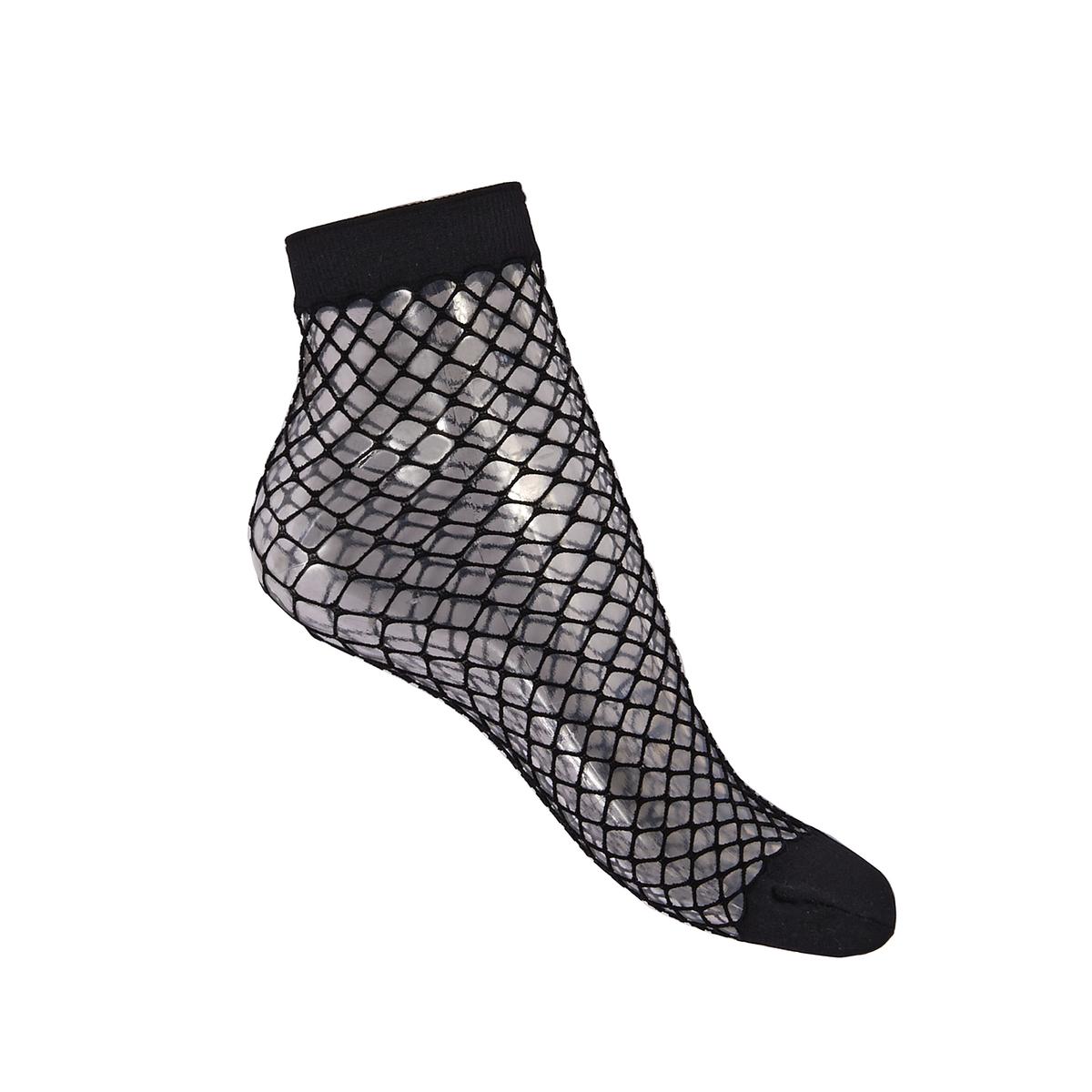 Комплект из 2 пар сетчатых носковОписание:Пара сетчатых носков, очень модных. Усиленный мысок для большего комфорта.Детали •  Усиленный мысокСостав и уход •  Материал : 92% полиамида, 8% эластана. •  Машинная стирка при 30°C в деликатном режиме, желательно с защитном чехле.<br><br>Цвет: черный