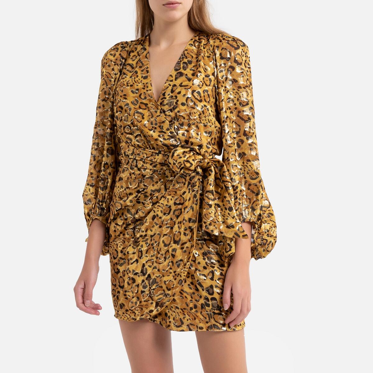 цена Платье La Redoute Короткое с длинными рукавами GINGER 2(M) каштановый онлайн в 2017 году