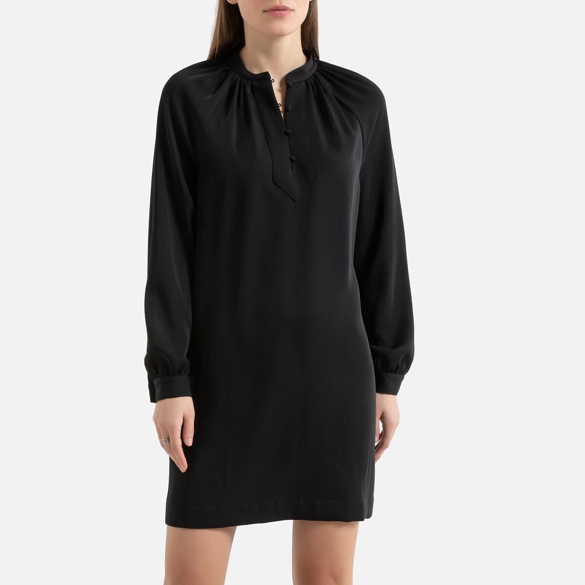 Платье La Redoute С воротником-стойкой с длинными рукавами 40 (FR) - 46 (RUS) черный стильное офисное платье с воротником стойкой dioni