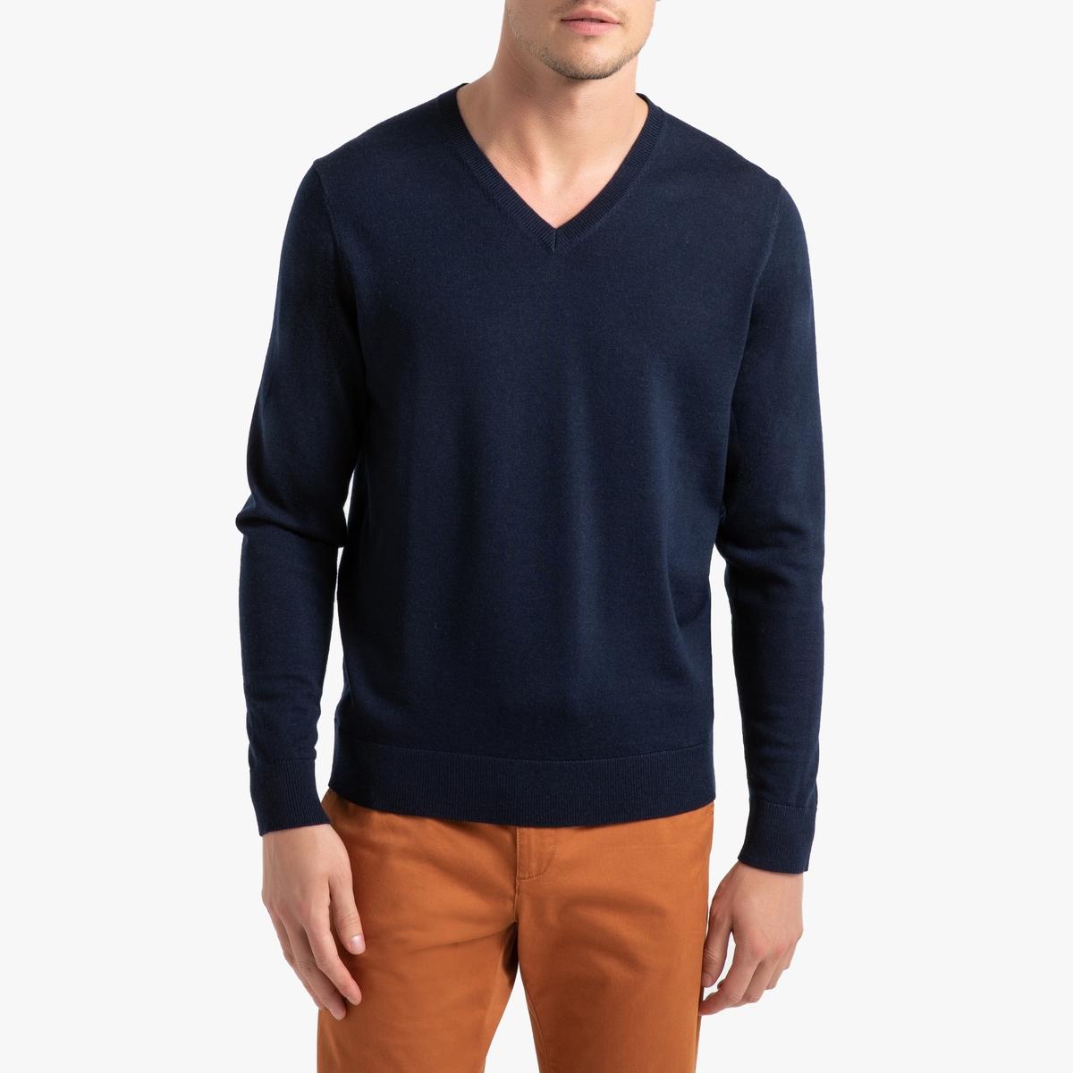 цена на Пуловер La Redoute С V-образным вырезом из шерсти мериноса Pascal M синий