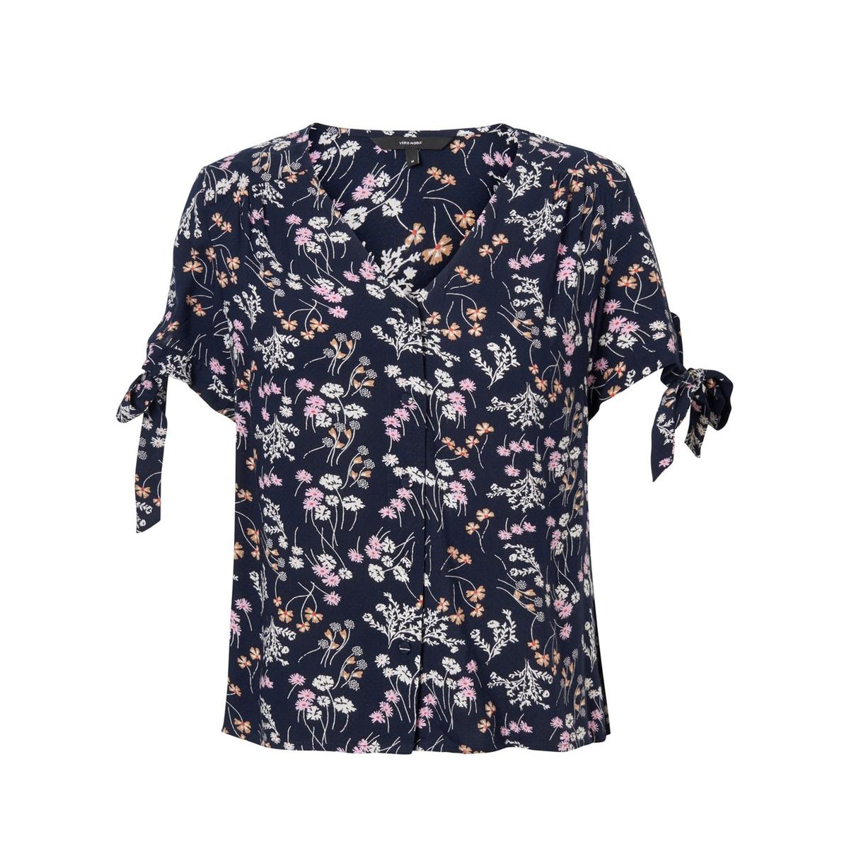цена Блузка La Redoute С V-образным вырезом цветочным рисунком и короткими рукавами Lotus XS синий онлайн в 2017 году