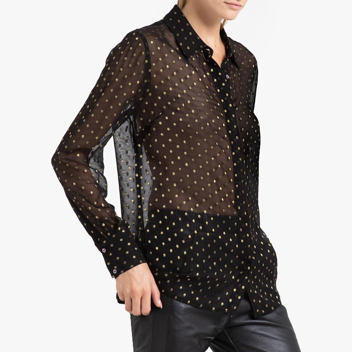 Рубашка La Redoute С жаккардовым рисунком с длинными рукавами ESTHER 38 (FR) - 44 (RUS) черный цена 2017