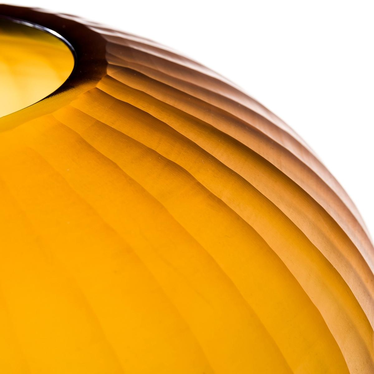 Ваза стеклянная YsalisВаза из рифленого стекла.Диаметр 24 см x Выс. 25 см.<br><br>Цвет: янтарь