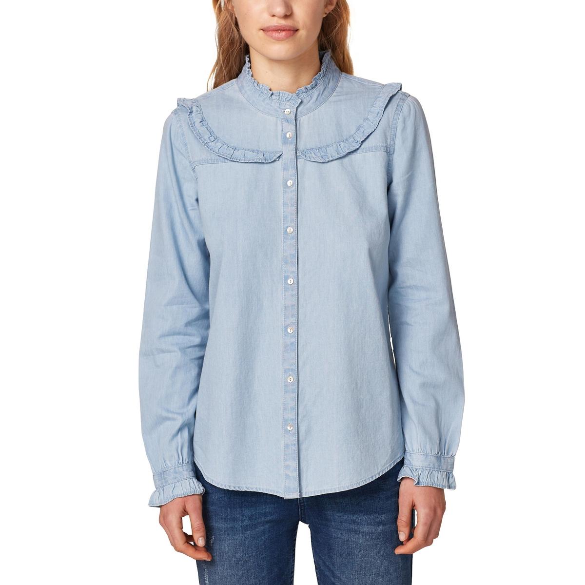 Camisa con volante de manga larga, algodón ligero