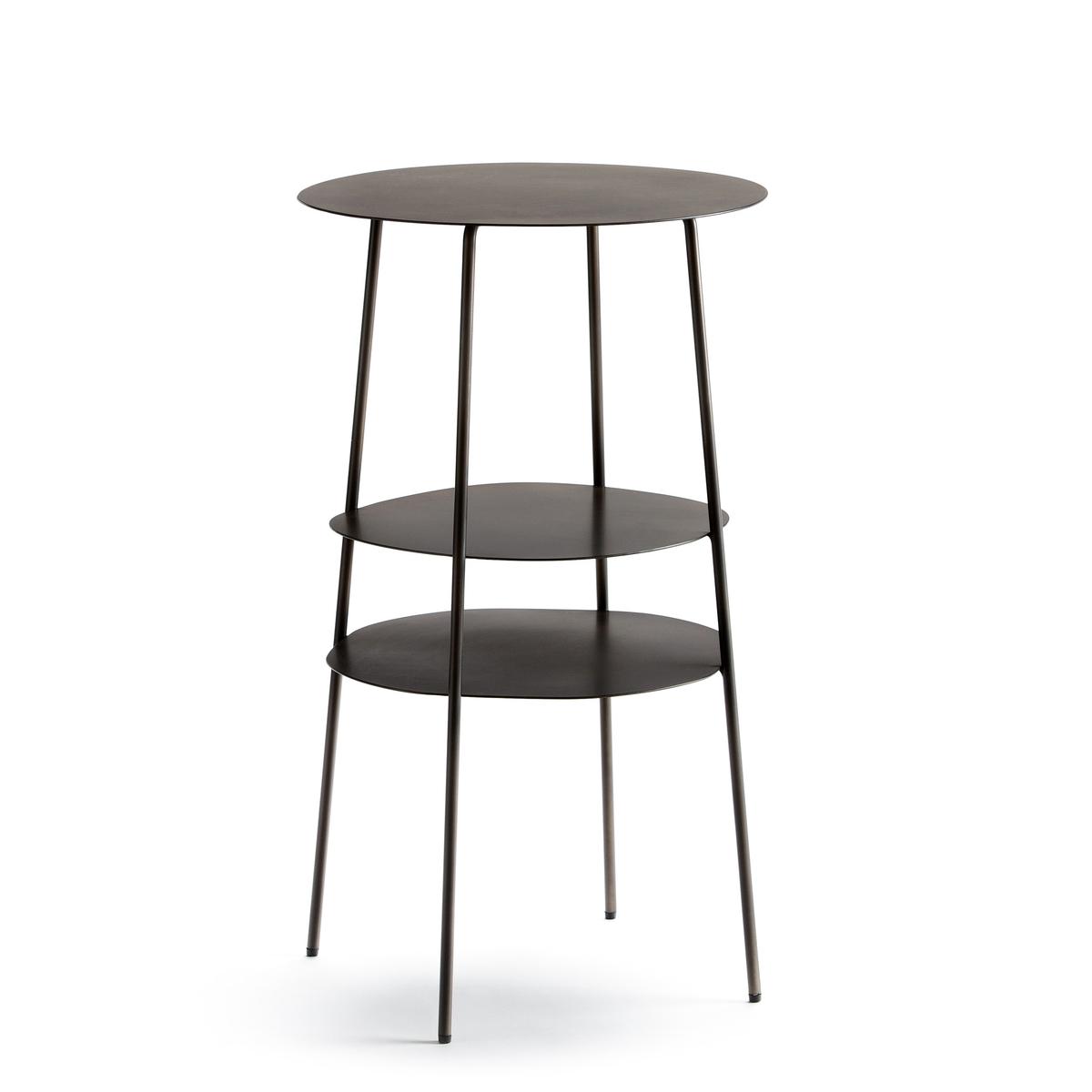 Столик La Redoute Прикроватный из металла цвета серый металлик Fractale единый размер серый
