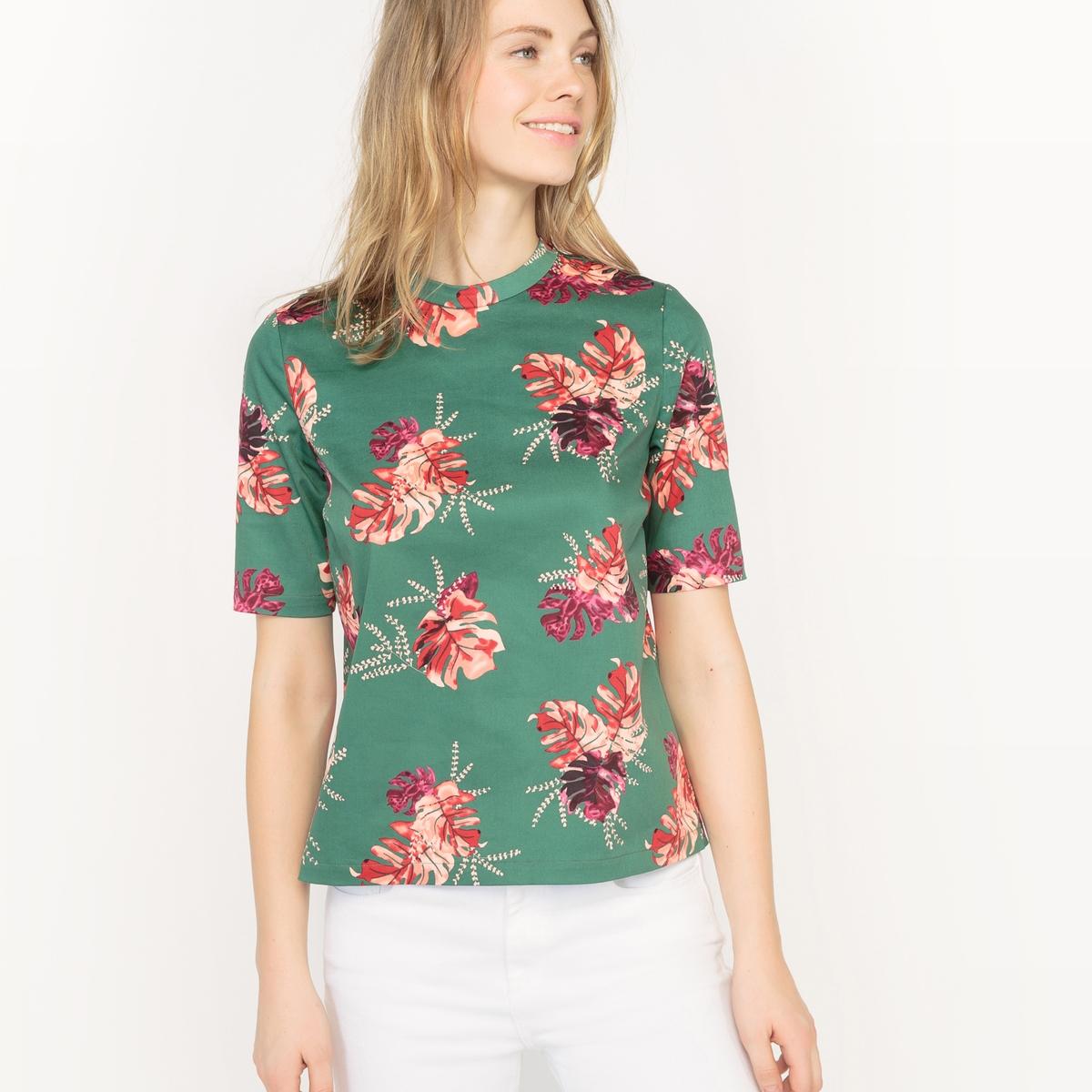 Блузка короткая с рисунком