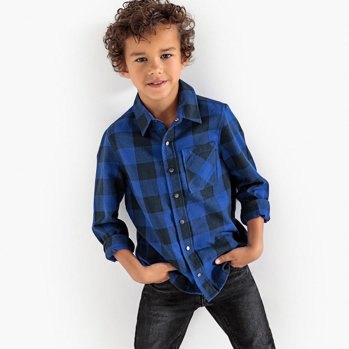 Рубашка в клетку, 3-12 лет рубашка в клетку rip curl faded check shirt indian teal
