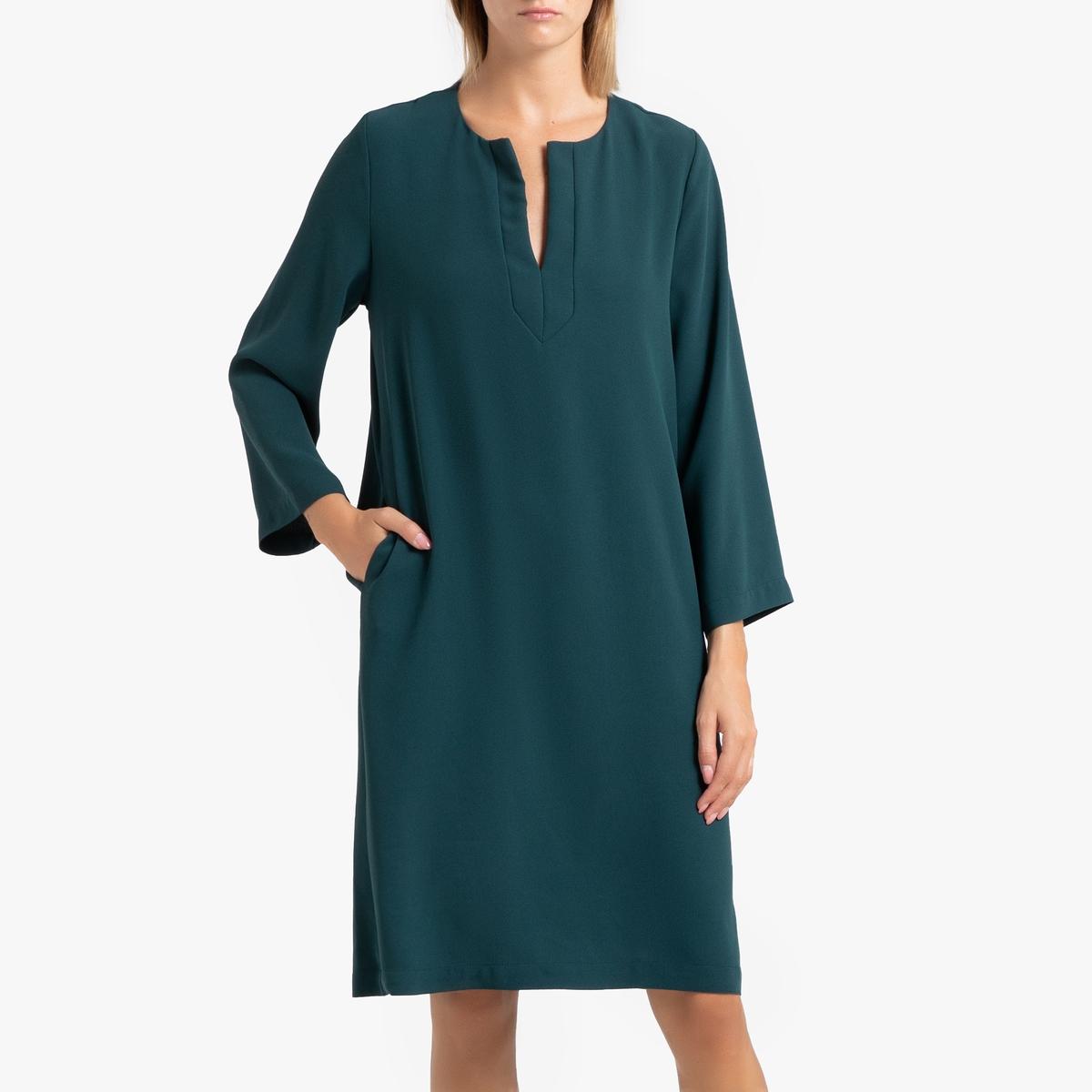 цена Платье La Redoute Прямое с длинными рукавами LINE S зеленый онлайн в 2017 году