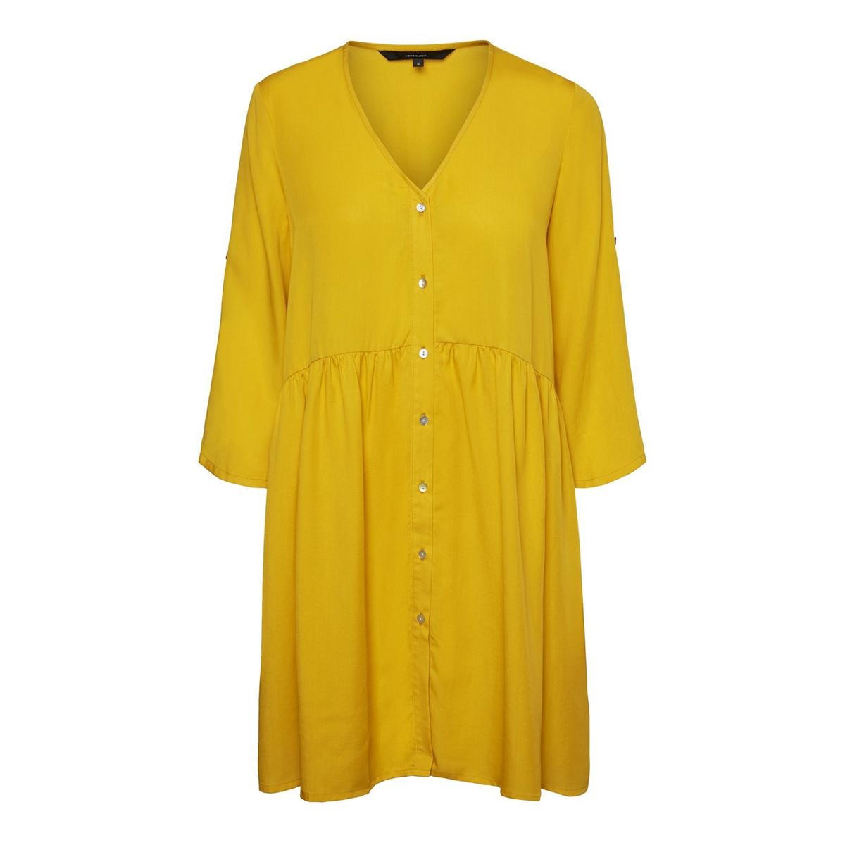 цена Платье La Redoute Расклешенное с V-образным вырезом и рукавами S каштановый онлайн в 2017 году