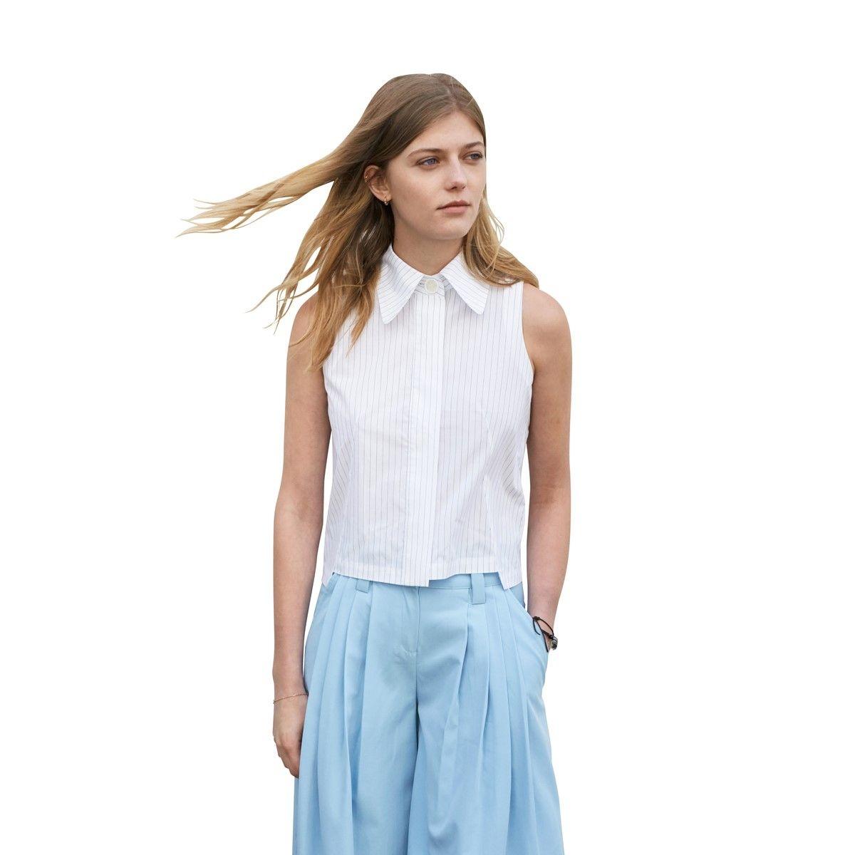 chemise sans manche pur coton rayures élégantes style japonais