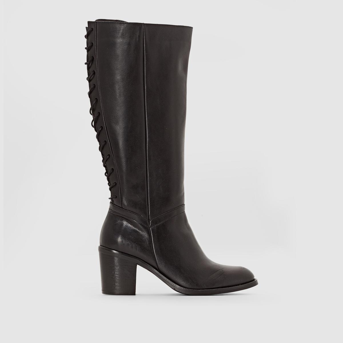 Сапоги кожаные на шнуровке сзади на широкую ногу, размеры 38-45