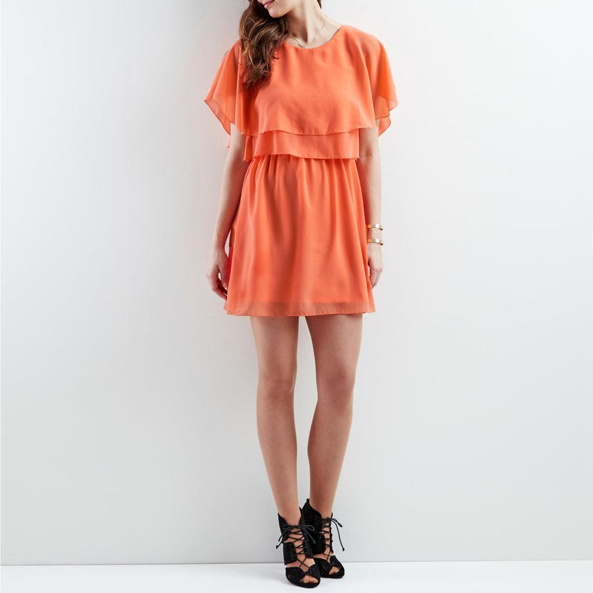 Платье с короткими рукавами с воланами с эффектом наложения тканей