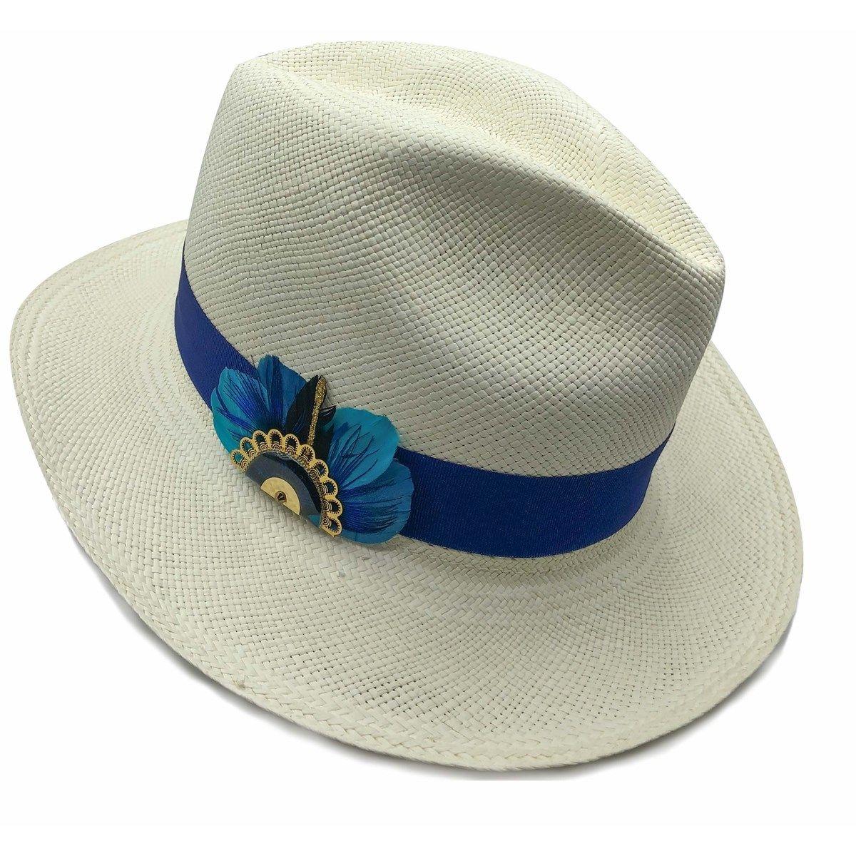 Chapeau panama en paille écru ruban interchangeable Linea et broche Gilda