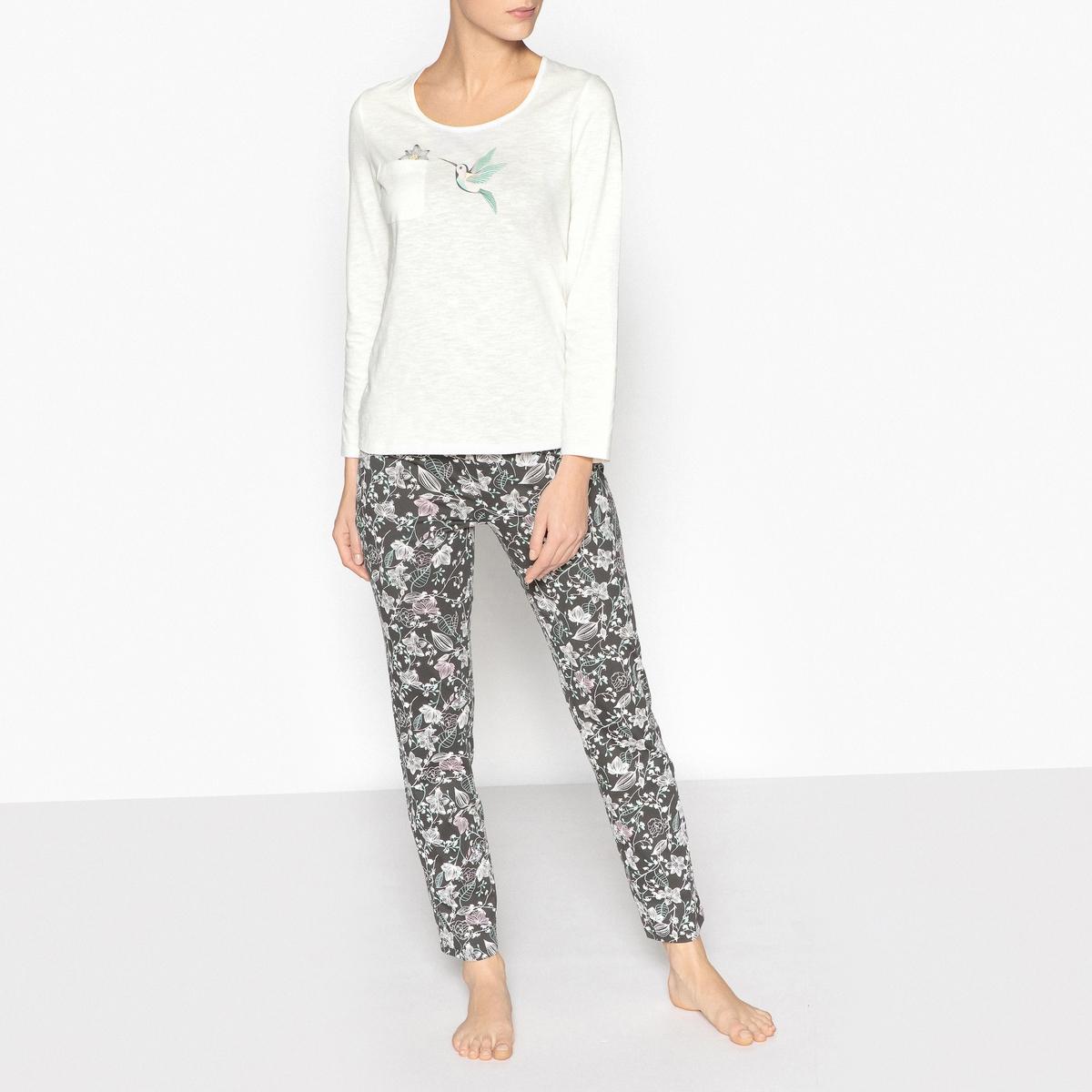 Пижама с рисункомОписание:Женская пижама с цветочным рисунком. Красивый верх с рисунком птица и брюки яркой расцветки. Идеальная пижама для отдыха.Детали. •  Верх прямого покроя. •  Круглый вырез. •  Длинные рукава. •  Накладной карман спереди. •  Брюки с эластичным поясом.  •  Длина : Высота : 65 см.Длина по внутр.шву : 76 см..Состав и уход •  Материал : 100% хлопок. •  Стирать при температуре 30° в деликатном режиме. •  Стирать с вещами схожих цветов. •  Стирать и гладить с изнаночной стороны. •  Низкая температура глажки.<br><br>Цвет: набивной рисунок<br>Размер: 34/36 (FR) - 40/42 (RUS).46/48 (FR) - 52/54 (RUS).42/44 (FR) - 48/50 (RUS).38/40 (FR) - 44/46 (RUS)