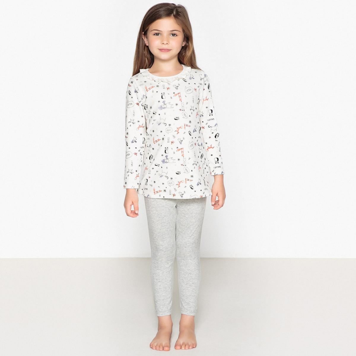 Пижама раздельная из велюра с принтом, 3-12 лет