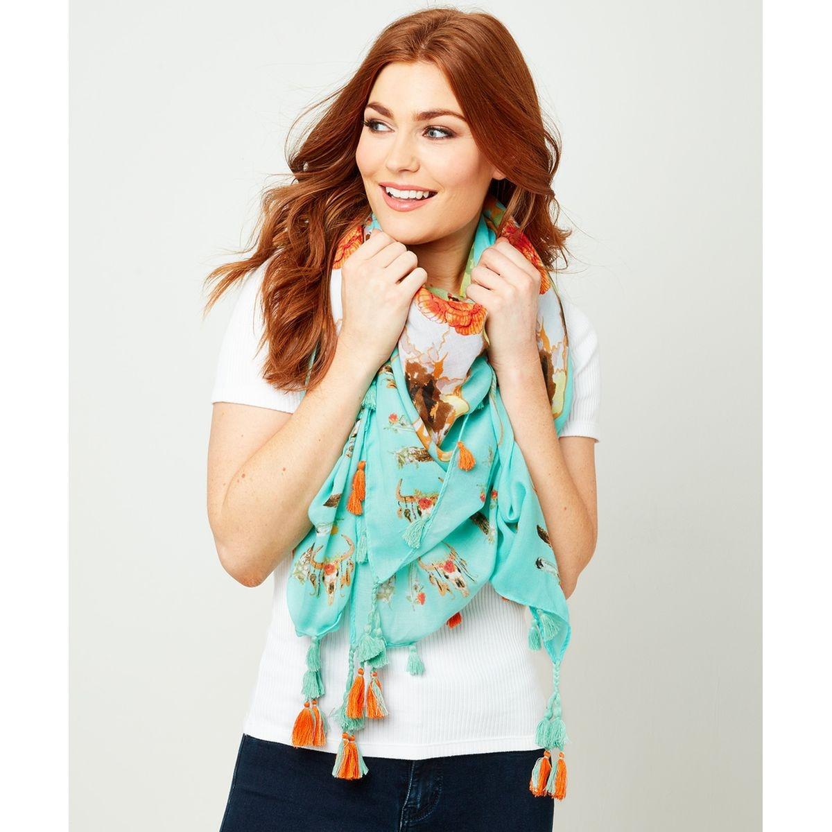 Écharpe d'été néon avec bordure à pampille