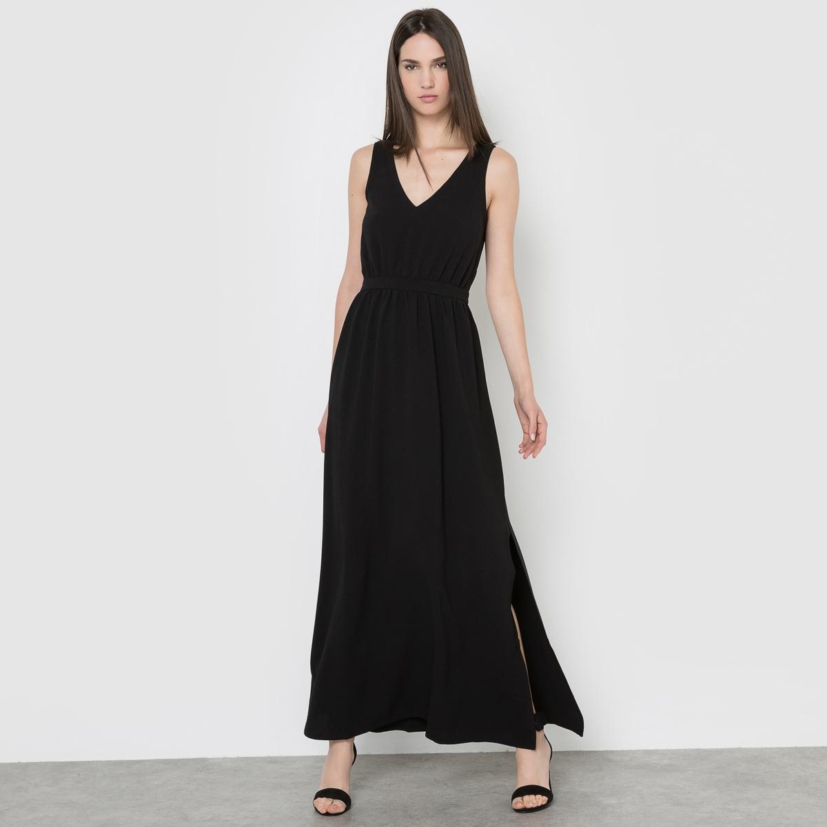 Платье длинноеСостав и описаниеМатериал : 100% полиэстера.Длина : 145 смМарка : LES PETITS PRIX.<br><br>Цвет: черный<br>Размер: 40 (FR) - 46 (RUS)