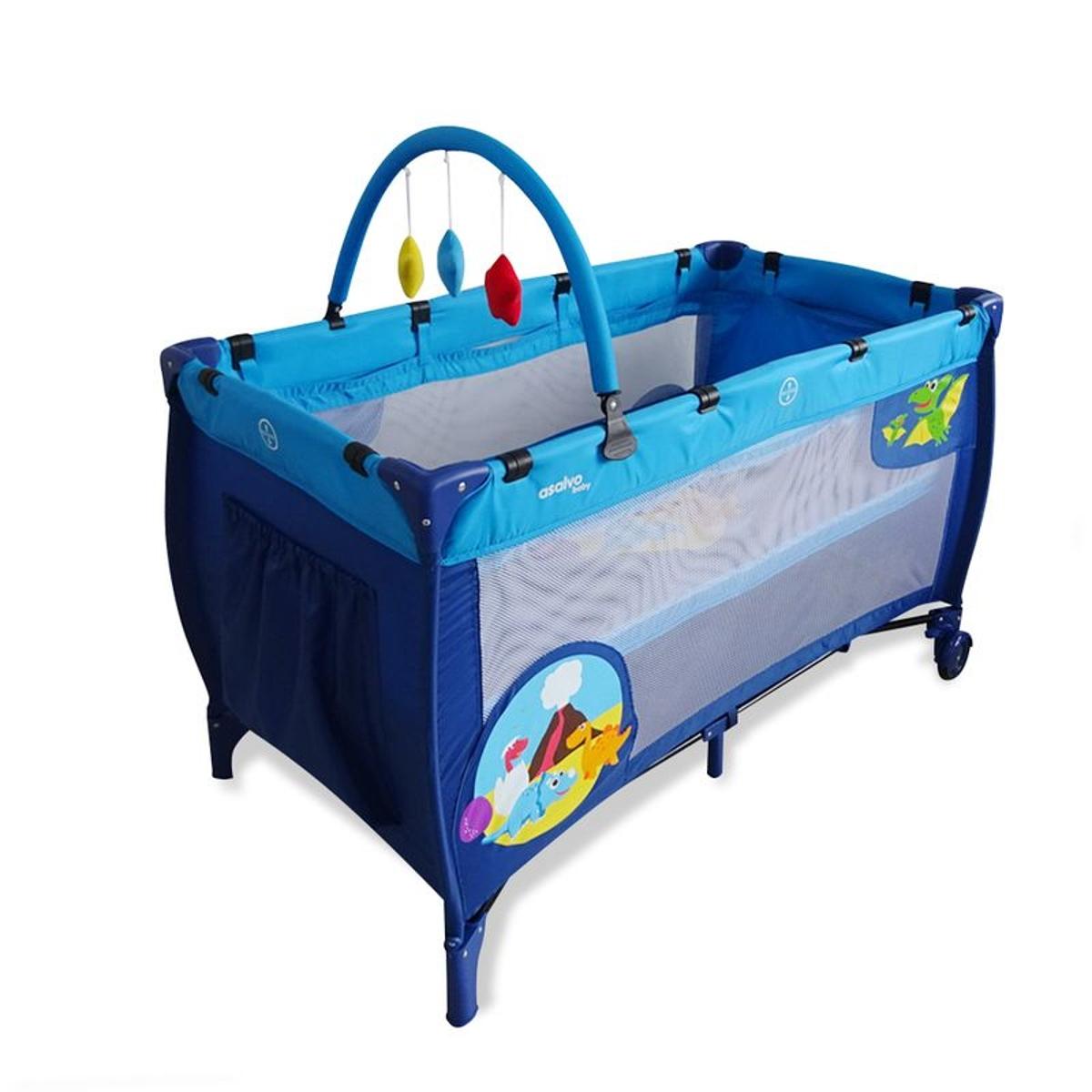Lit parapluie avec arche Baby Fox Dinos Bleu