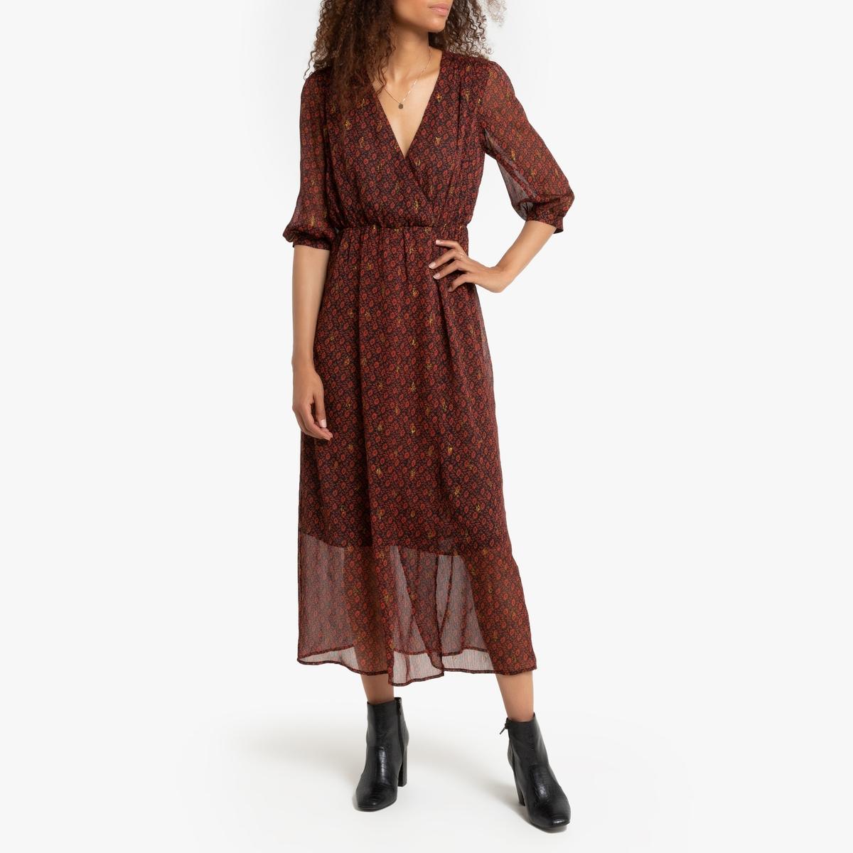 Платье La Redoute Длинное с запахом и рисунком 3(L) красный