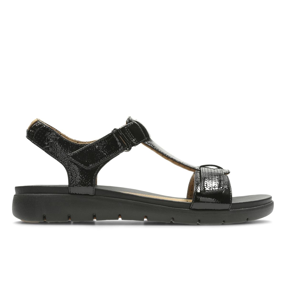 Босоножки кожаные Un HaywoodВерх : Кожа.   Подкладка : Кожа.   Стелька : Кожа.   Подошва : Каучук   Высота каблука : 3,5 см.   Форма каблука : плоский каблук   Мысок : открытый мысок   Застежка : планка-велкро<br><br>Цвет: черный<br>Размер: 37