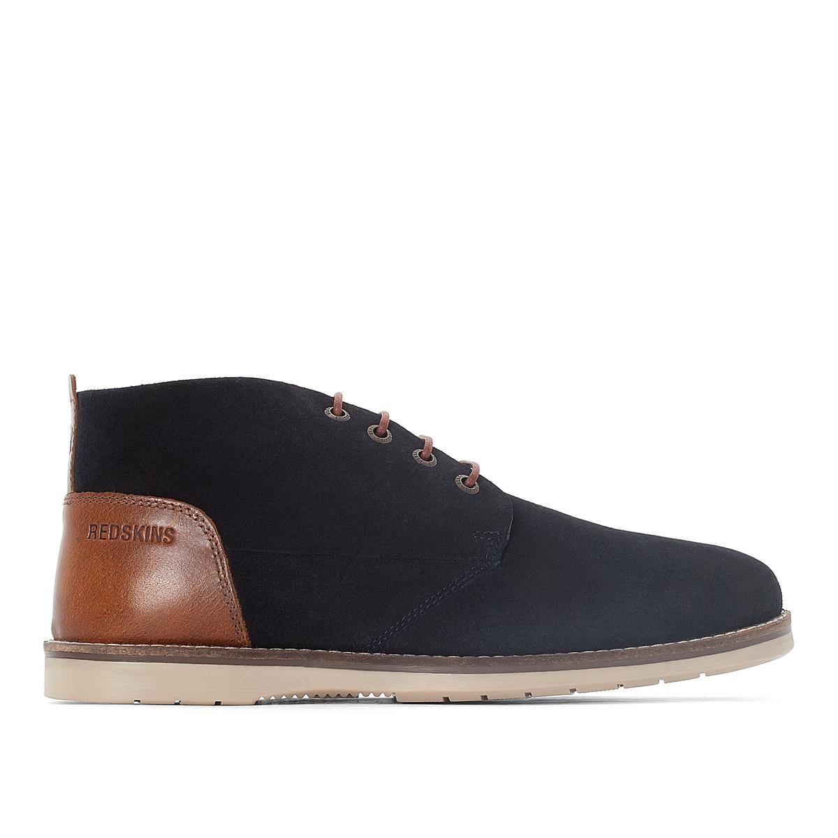 Ботинки-дезерты кожаные BALMONДетали  •  Высота каблука : 0 см •  Застежка : шнуровка •  Круглый мысок •  Велюровая отделка, нубукСостав и уход  •  Верх 100% спилок •  Подкладка 100% текстиль •  Стелька 50% кожи, 50% ткани<br><br>Цвет: темно-синий<br>Размер: 45