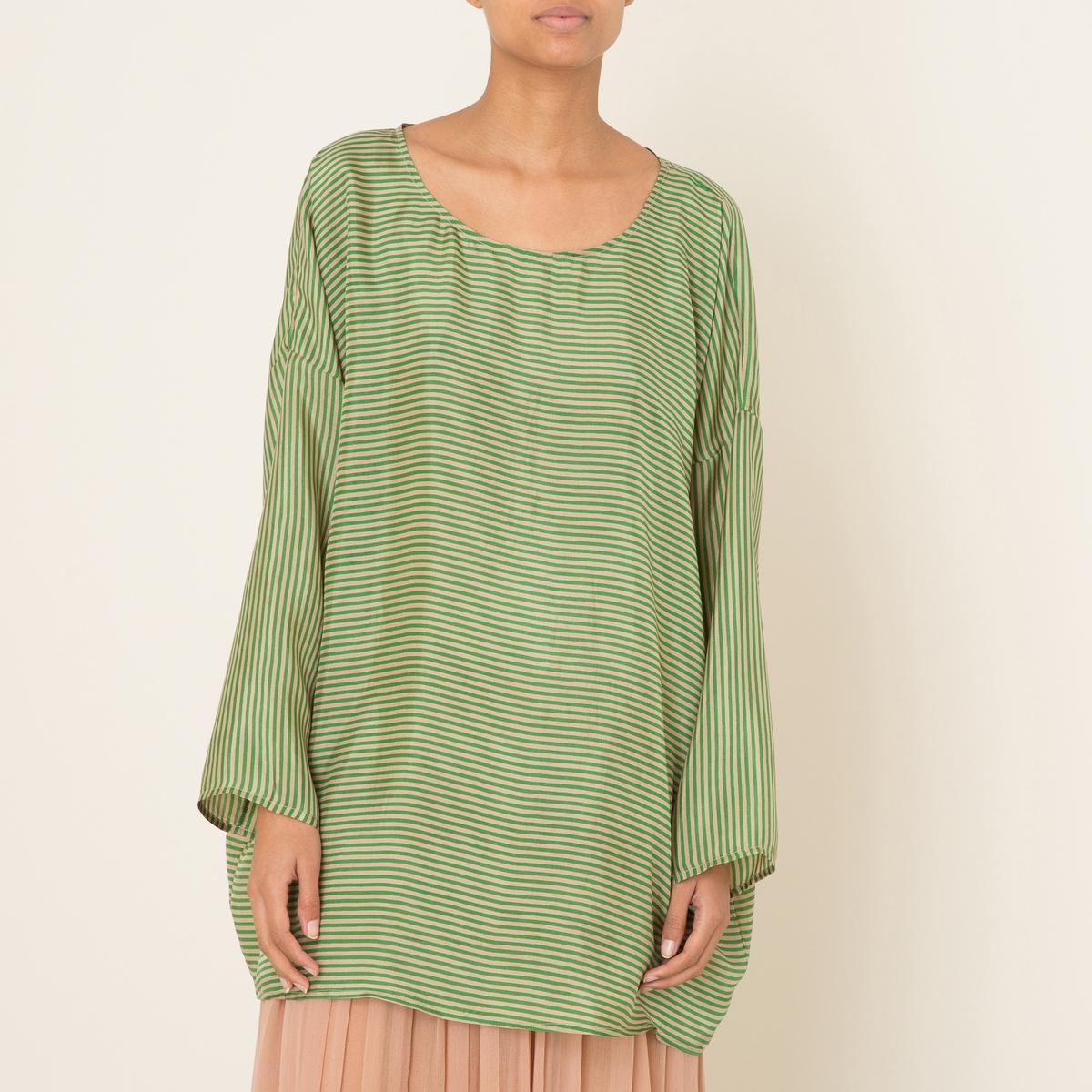 Блузка PIERCEБлузка MES DEMOISELLES - модель PIERCE форма туники, 100% шелк в полоску . Свободный круглый вырез. Приспущенные плечи и длинные рукава . Ультра объемный покрой . Состав и описание Материал : 100% шелкДлина : 81 см. для размера 36Марка : MES DEMOISELLES<br><br>Цвет: зеленый<br>Размер: M