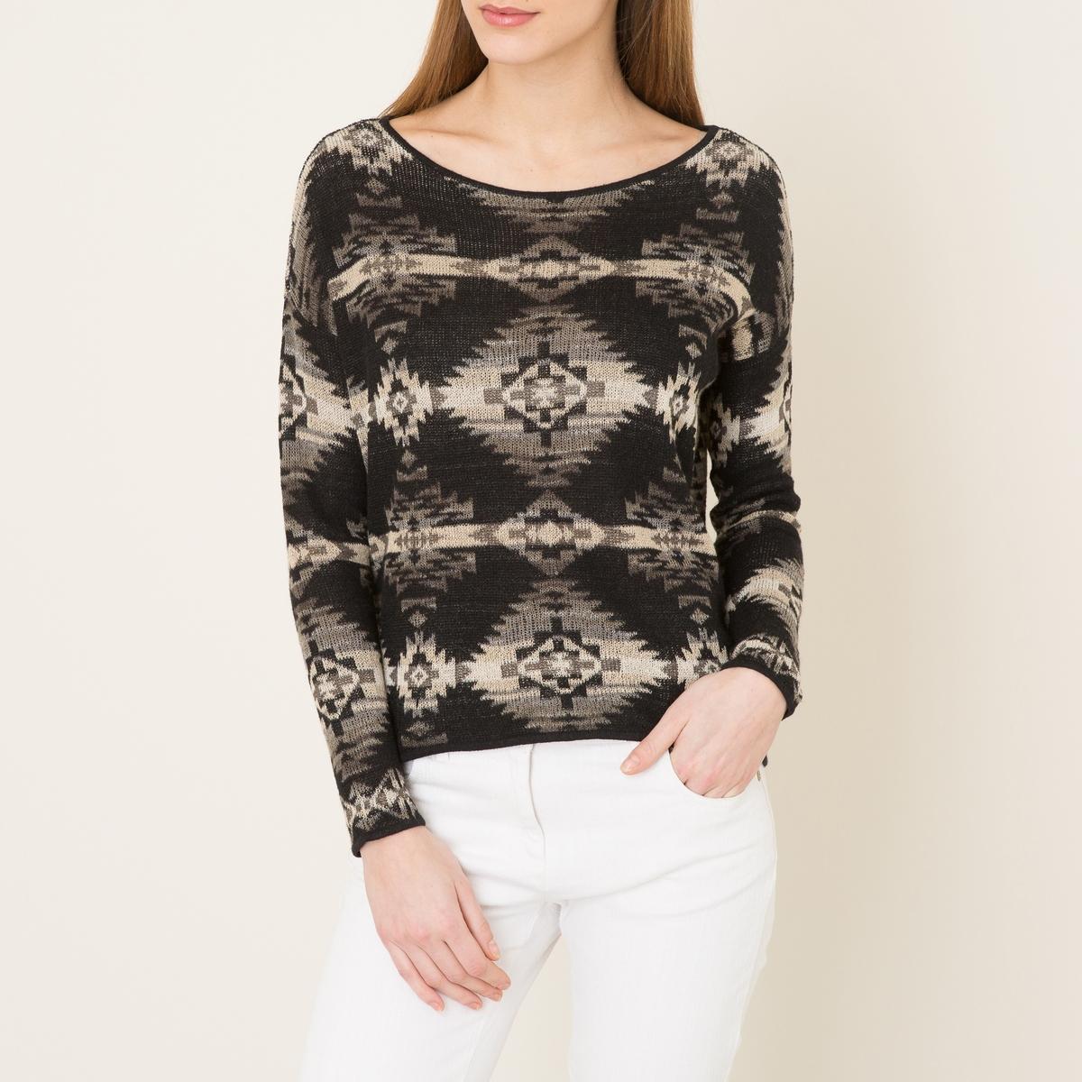 Пуловер из жаккардового трикотажаСостав и описание      Материал : 45% рами, 22% хлопка, 20% вискозы     Марка : Denim and Supply Ralph Lauren<br><br>Цвет: черный/ белый