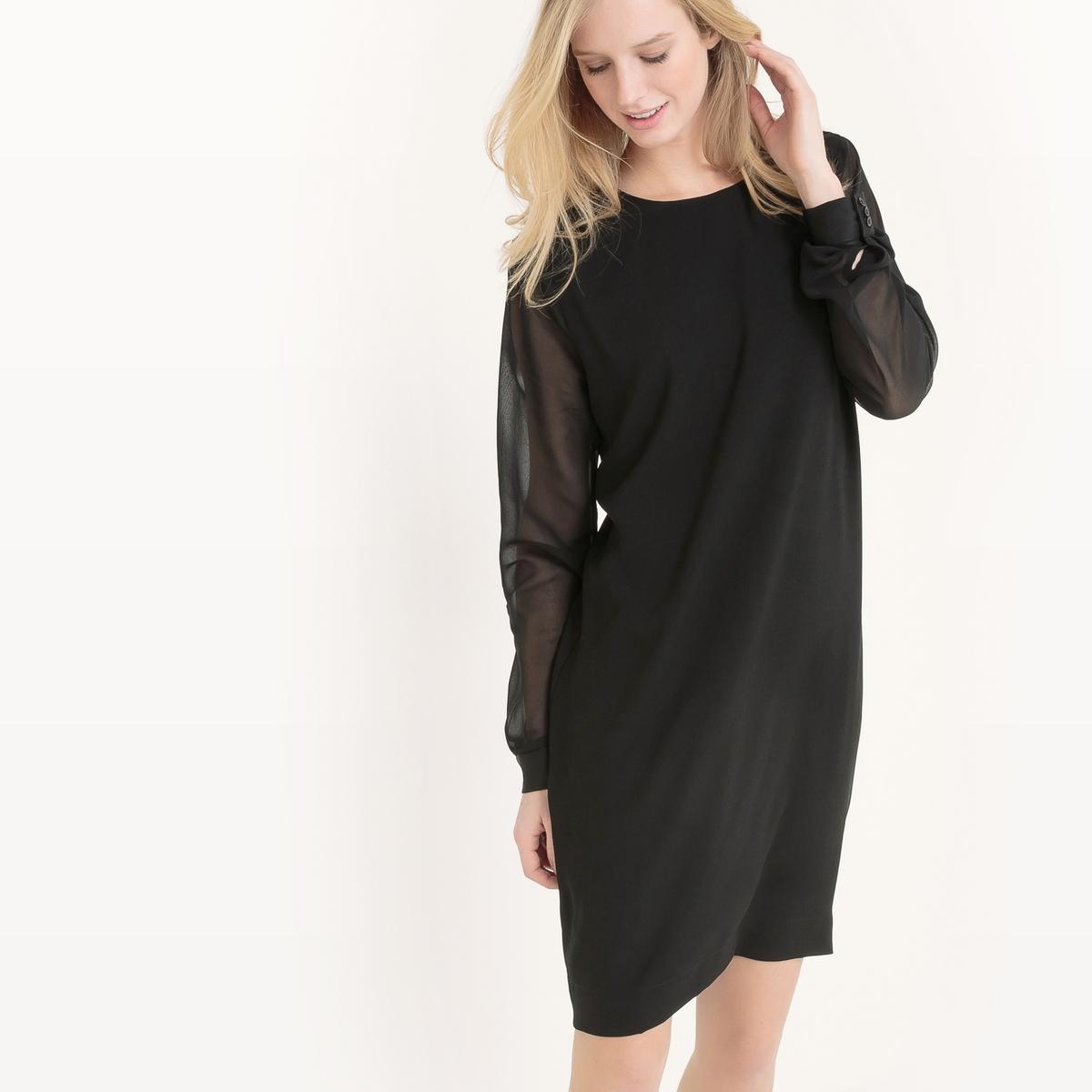 Платье с длинными рукавами HILLY DRESSПлатье с длинными рукавами HILLY DRESS от B .YOUNG    . Платье длинного покроя из вуали на подкладке на основной части, кроме рукавов. Состав и описание :Материал : 100% полиэстерМарка : B.YOUNG<br><br>Цвет: черный<br>Размер: 38 (FR) - 44 (RUS)