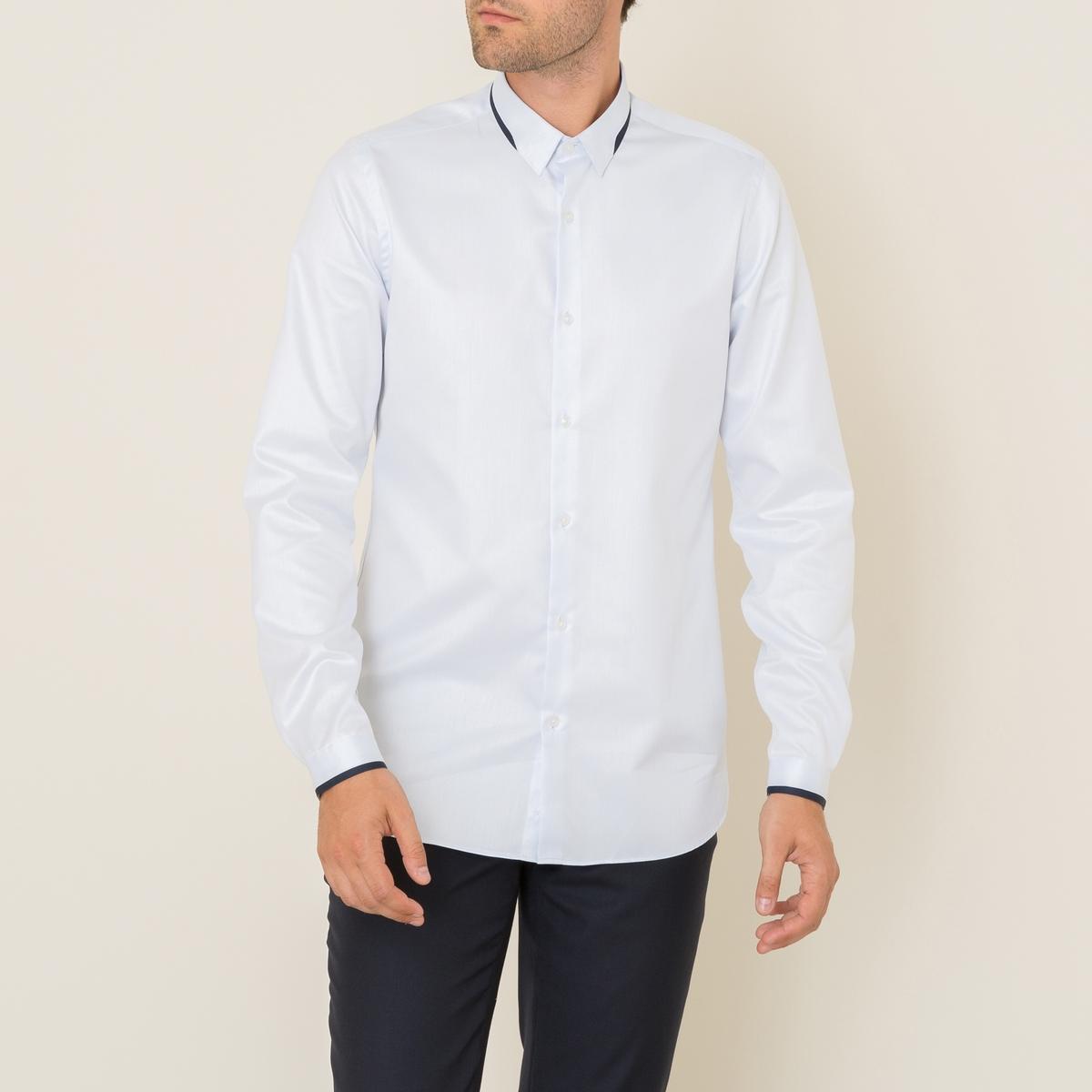 Рубашка классическаяСостав &amp; Детали Материал : поплин, 100% хлопокОкантовка 100% полиэстер Марка : THE KOOPLES<br><br>Цвет: синий