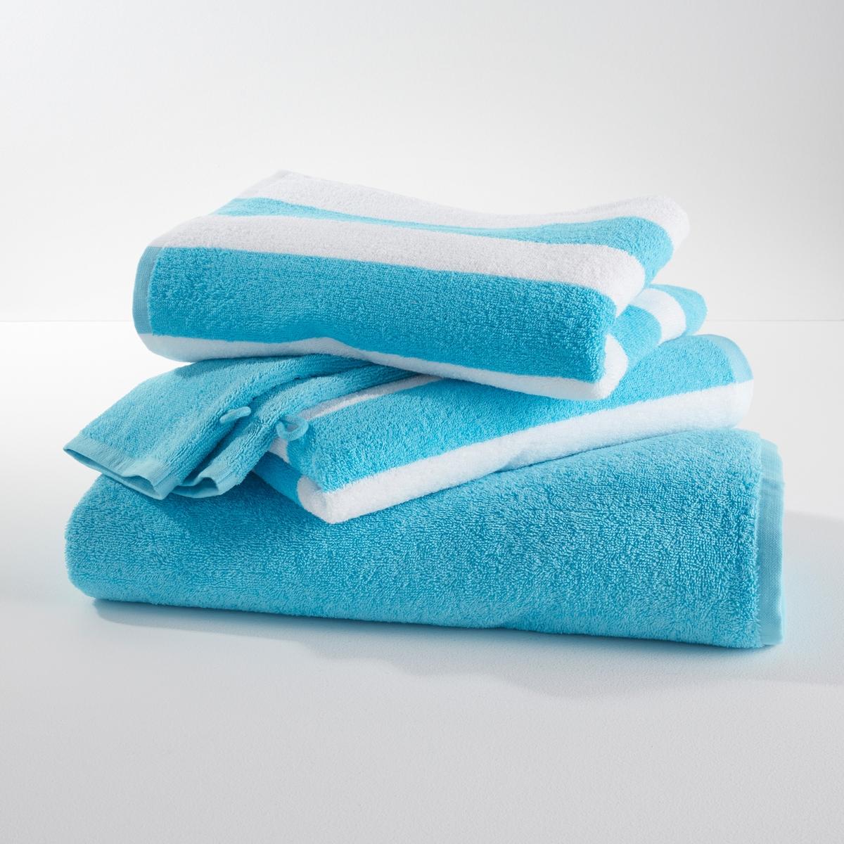 Комплект банный из  5 предметов,  махровая ткань, 420г/м2Комплект банный из  5 предметов: однотонных и в полоску.                 2 однотонных банных рукавички, 2 полотенца в полоску Jacquard и однотонное банное полотенце украсят вашу ванную комнату.                                 Описание банного комплекта: 2 банных рукавички 15 x 21 см2 полотенца 50 x 100 см1 банное полотенце 70 x 140 смХарактеристики комплекта: Махровая ткань букле, 100% хлопка 420г/м?.Стирка при 60 °C<br><br>Цвет: голубой бирюзовый,пепельно-серый,серо-бежевый