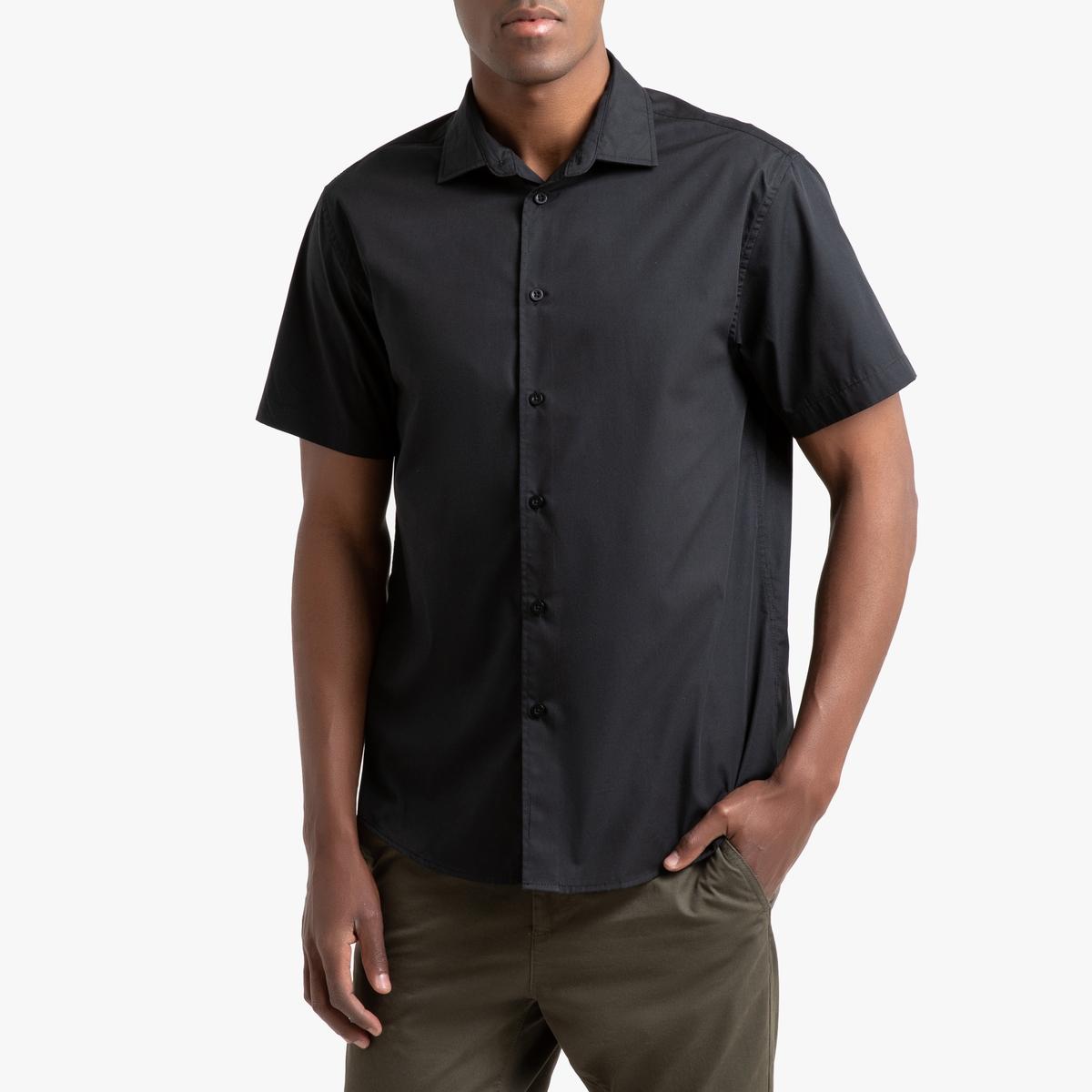 Фото - Рубашка LaRedoute Прямого покроя с короткими рукавами Christophe 37/38 черный юбка laredoute джинсовая прямого покроя xs синий