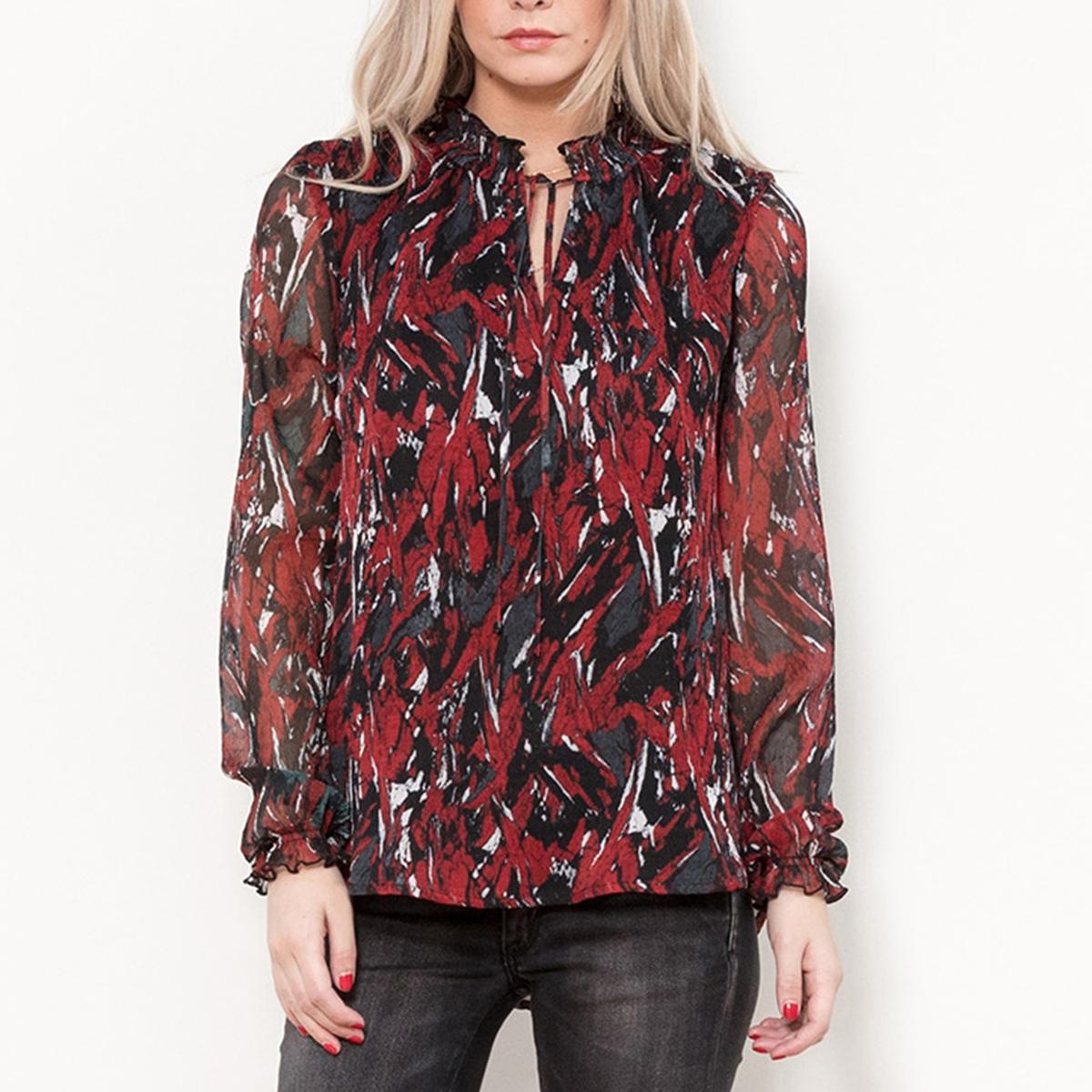 Блузка с рисунком, воротником-стойкой и длинными рукавами блузка в клетку с воланами и длинными рукавами check