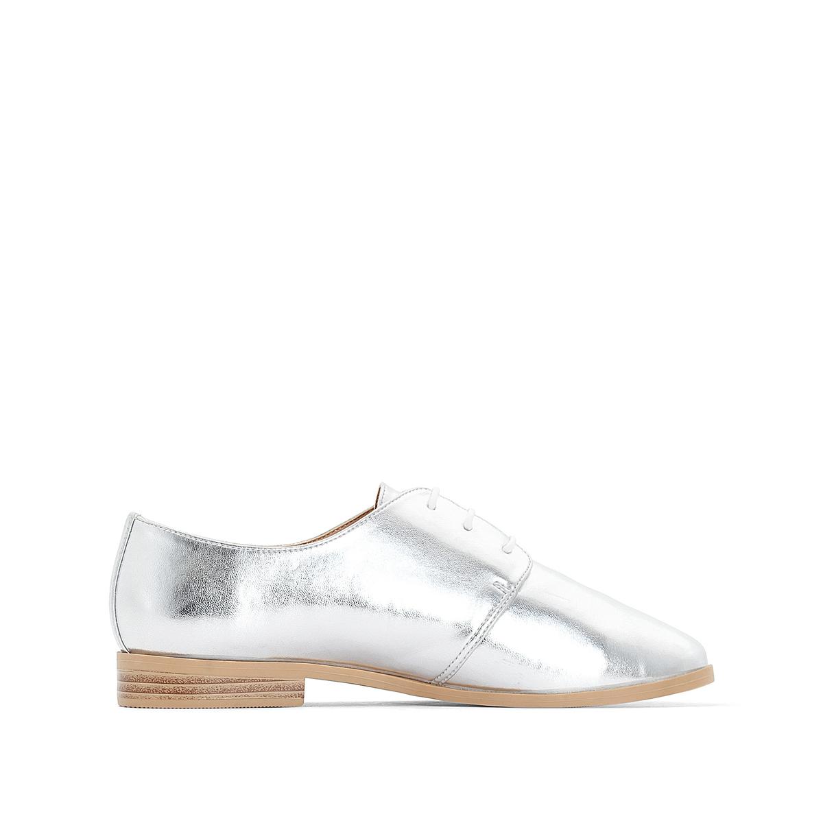 Ботинки-дерби из мягкого материала с металлическим блеском