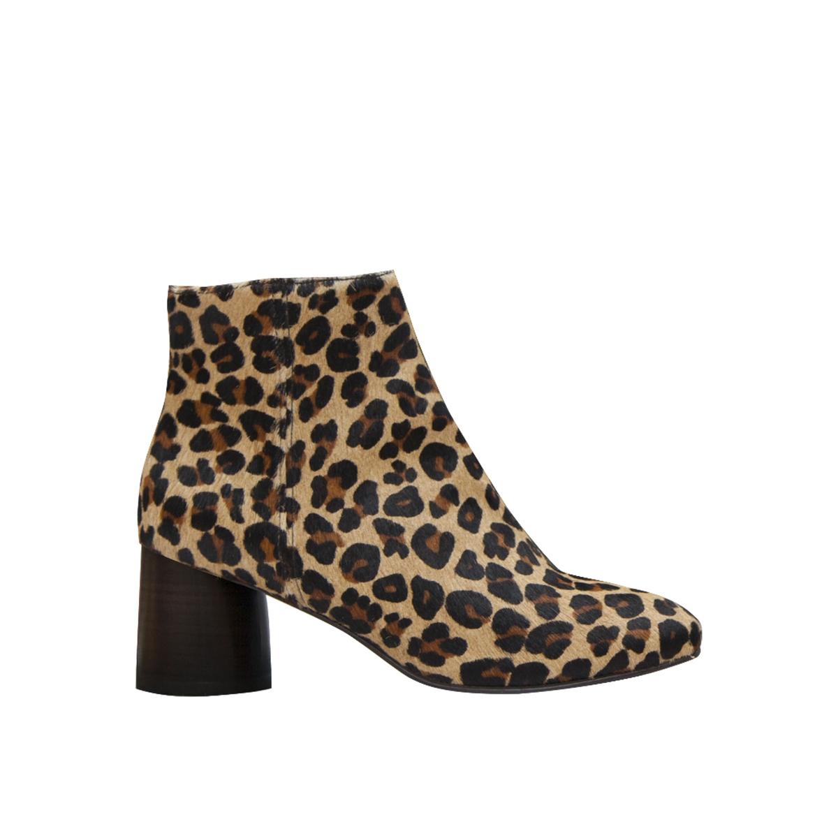Botines de piel estilo leopardo con tacón Camden