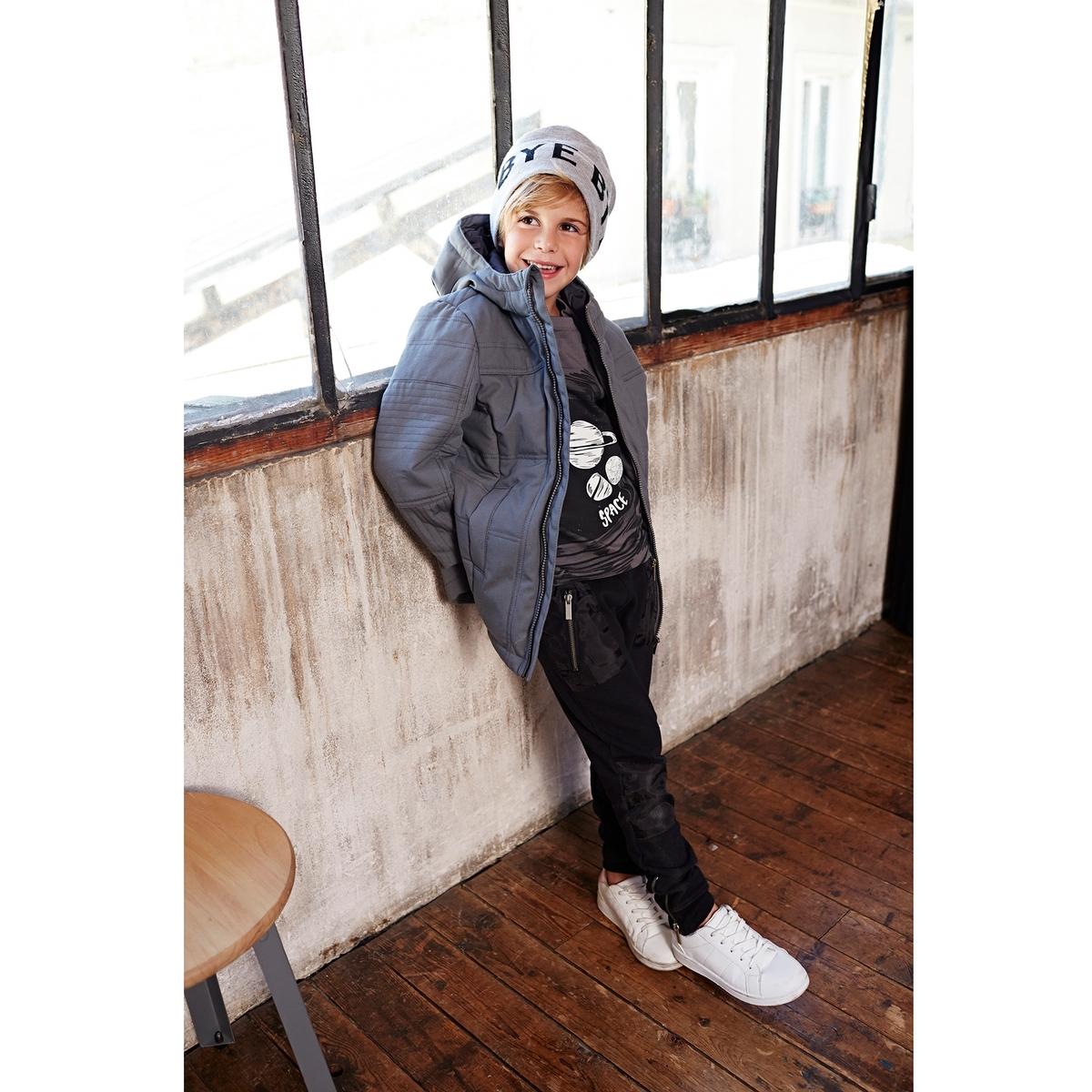 Пальто с капюшономСтеганое пальто с капюшоном, из 100% хлопка, с ватином, подкладка из 100% полиэстера. 2 кармана спереди.<br><br>Цвет: серый<br>Размер: 12 лет -150 см